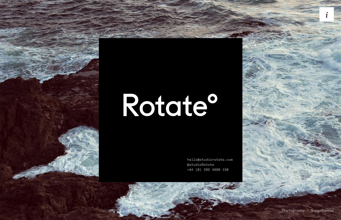 Screenshot of the website Rotate°, featured on The Gallery, a curated collection of minimal websites