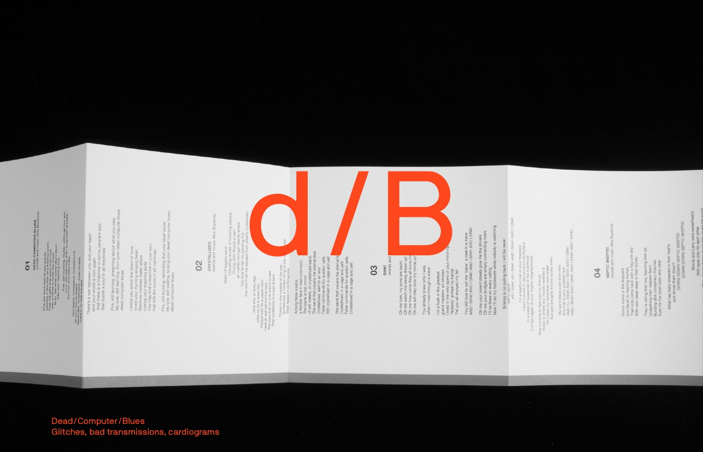 Screenshot of the website d/B, featured on The Gallery, a curated collection of minimal websites