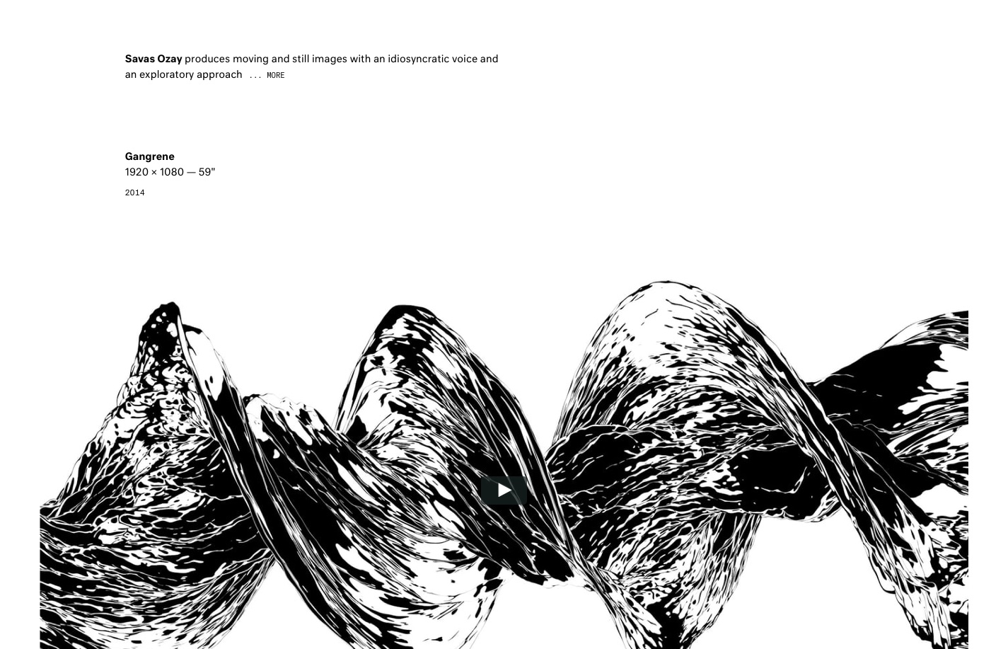 Screenshot of the website Savas Ozay, featured on The Gallery, a curated collection of minimal websites