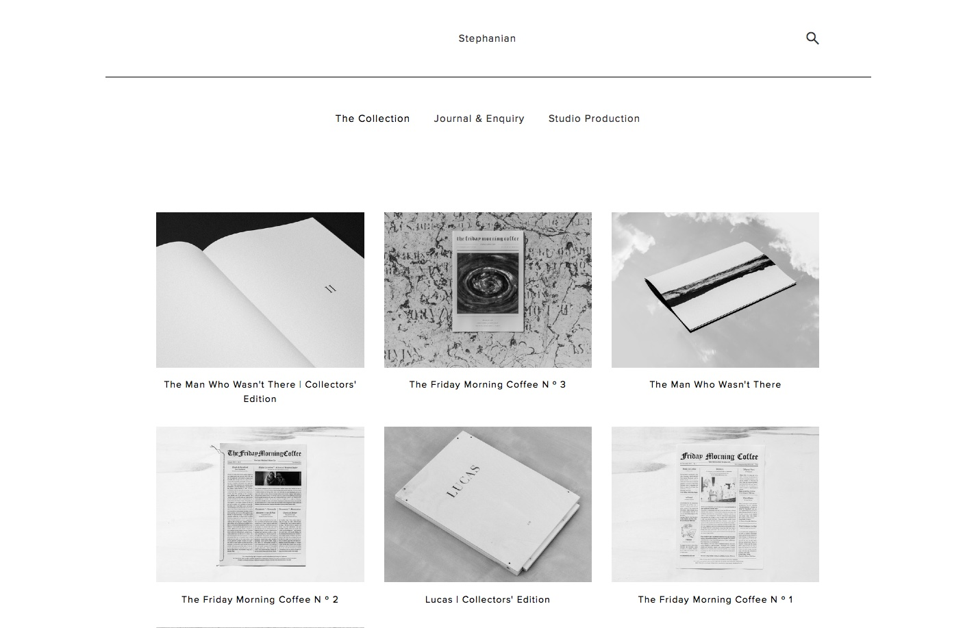 Screenshot of the website Stephanian, featured on The Gallery, a curated collection of minimal websites