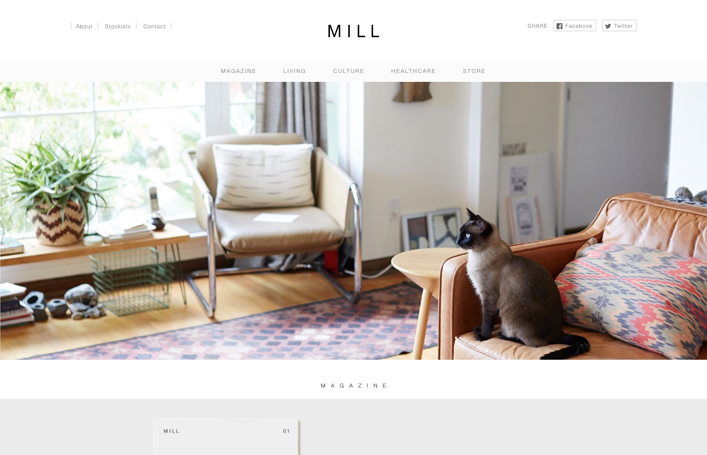 Screenshot of the website Mill, featured on The Gallery, a curated collection of minimal websites