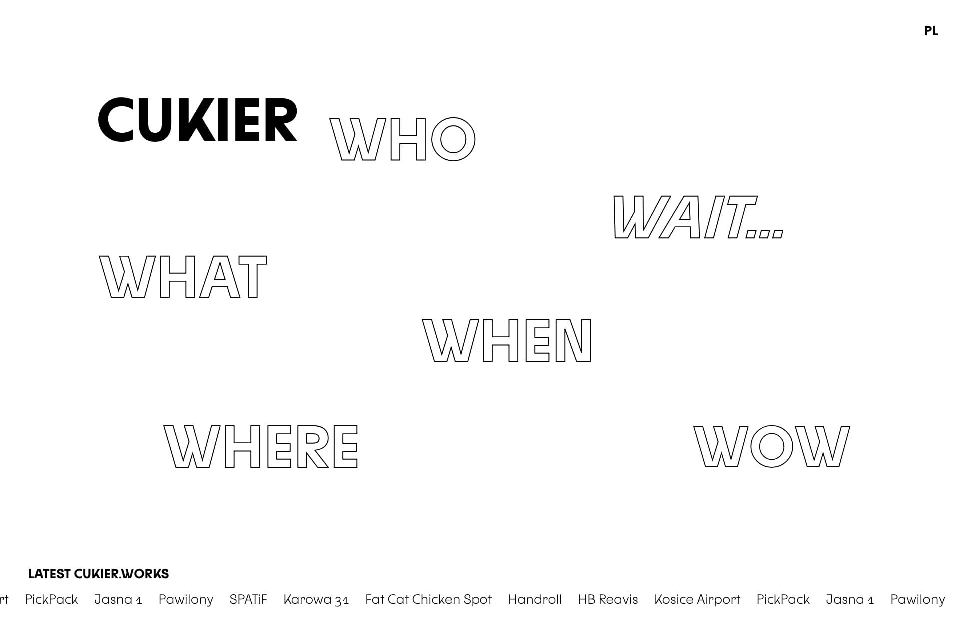 Screenshot of the website Cukier, featured on The Gallery, a curated collection of minimal websites