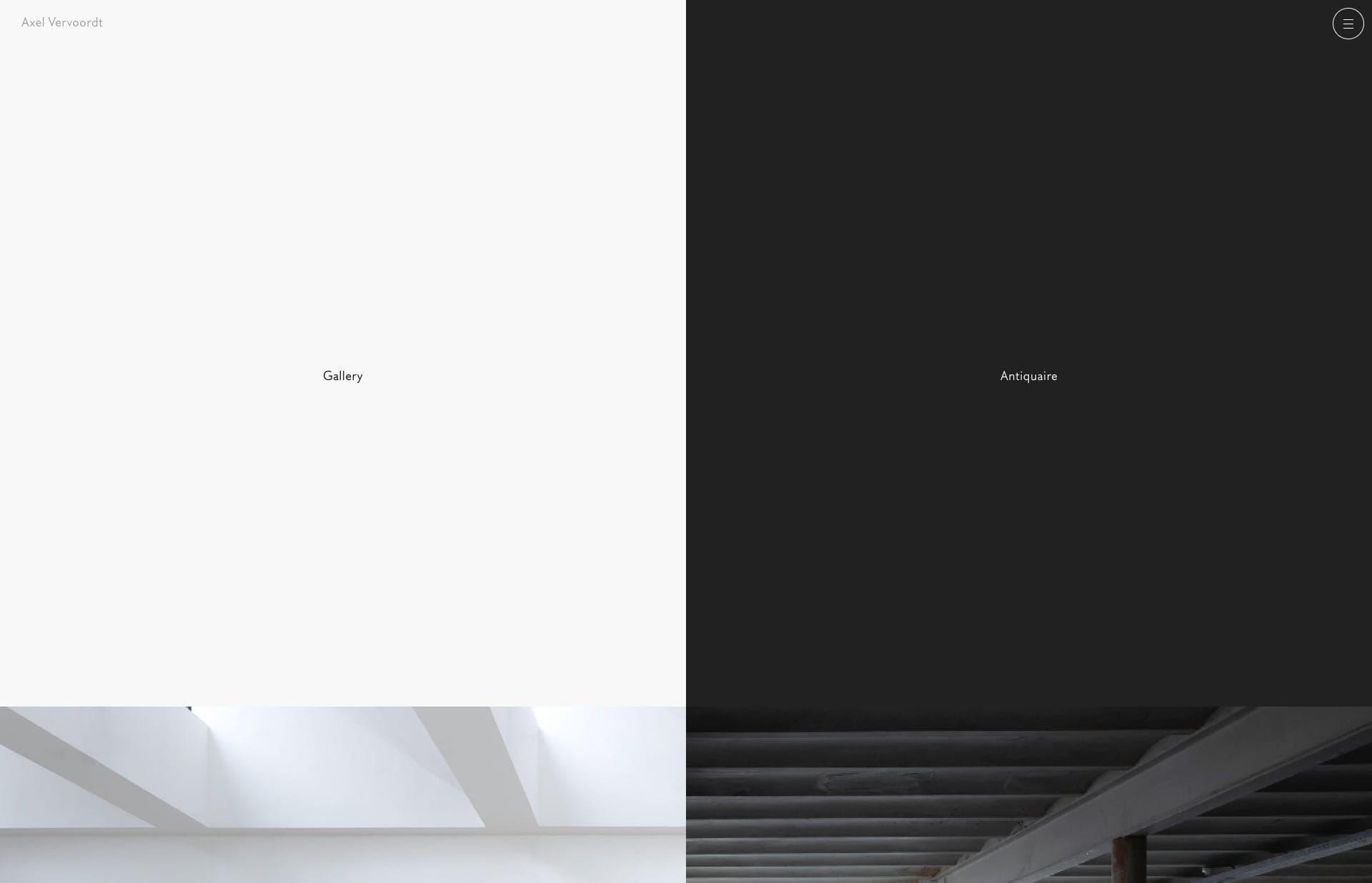 Screenshot of the website Axel Vervoordt, featured on The Gallery, a curated collection of minimal websites