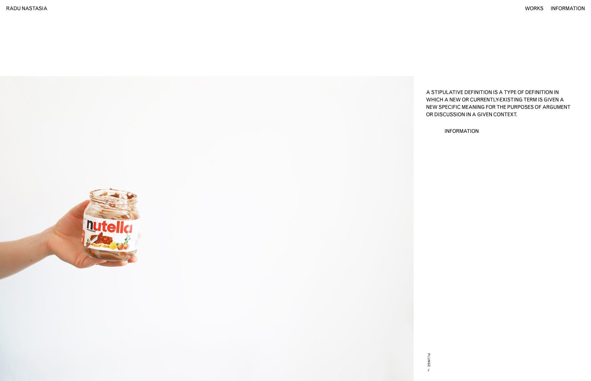 Screenshot of the website Radu Nastasia, featured on The Gallery, a curated collection of minimal websites