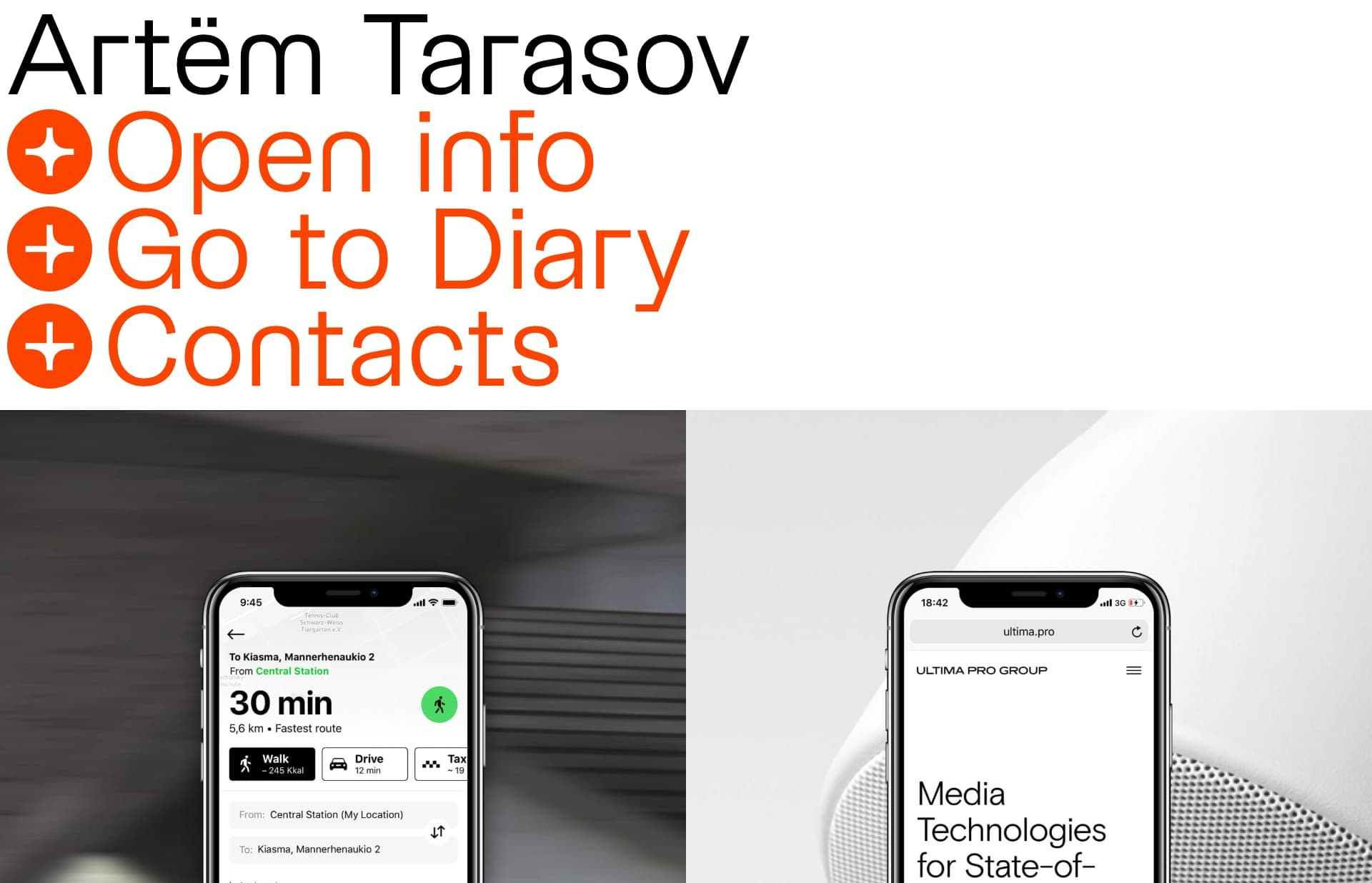 Screenshot of the website Artëm Tarasov, featured on The Gallery, a curated collection of minimal websites