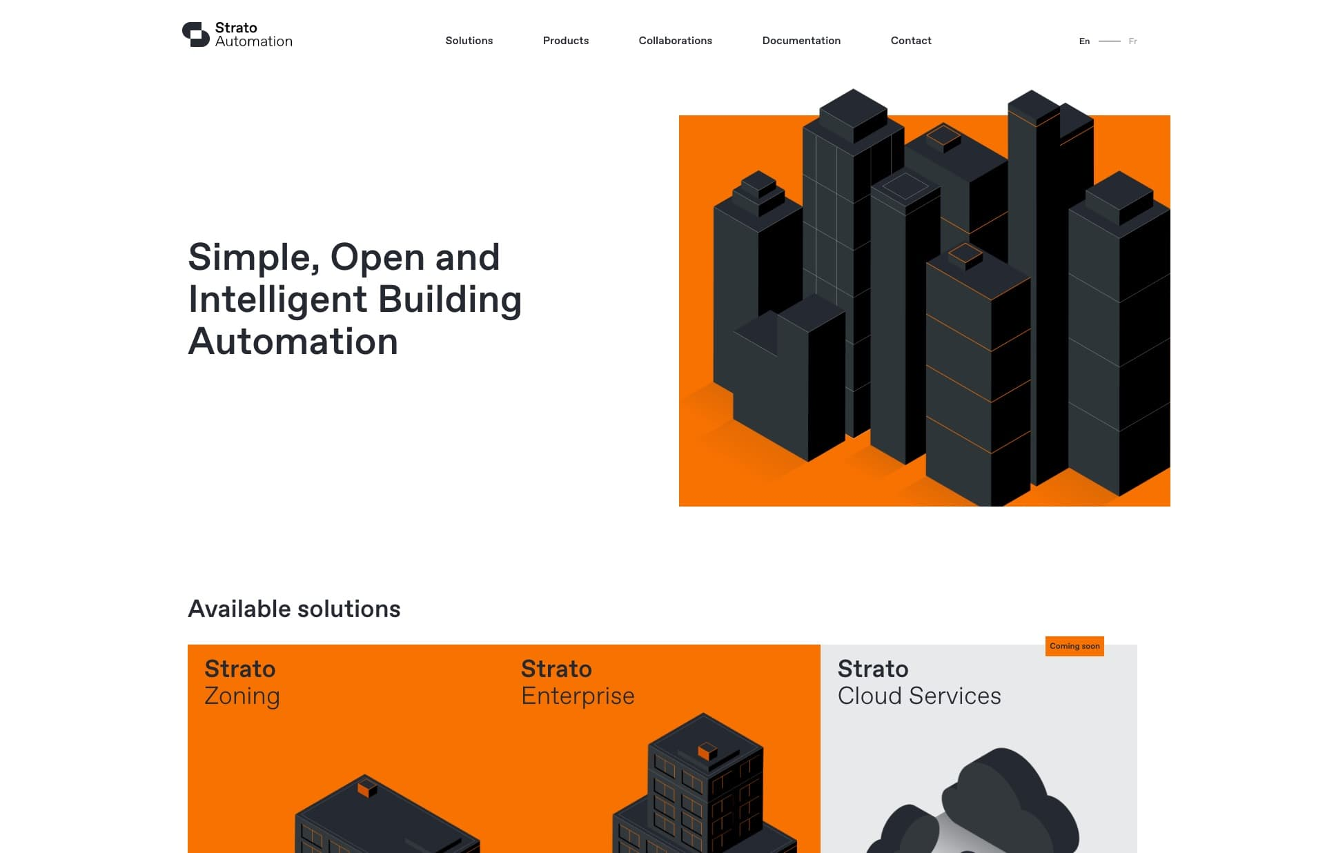 Screenshot of the website Strato Automation, featured on The Gallery, a curated collection of minimal websites