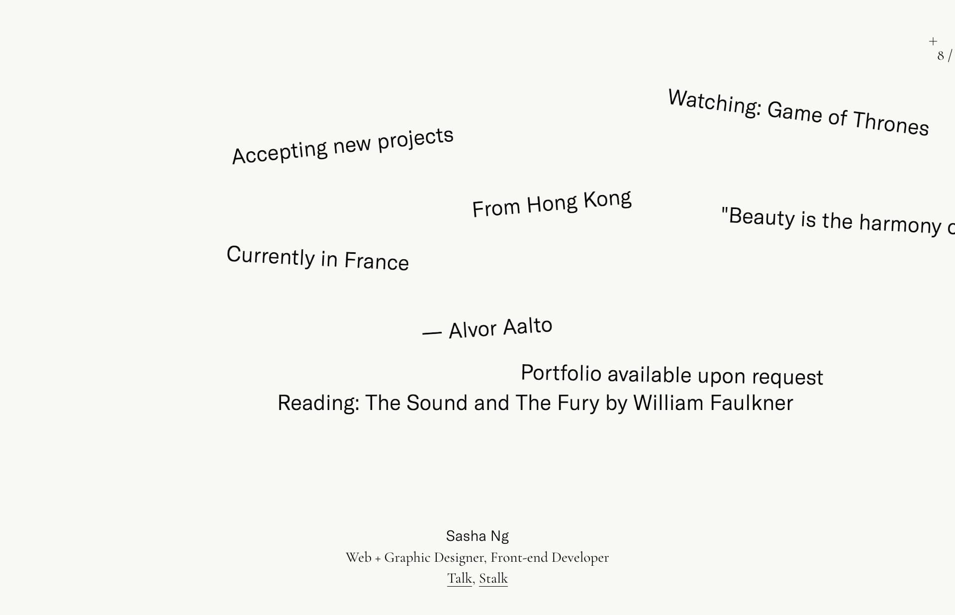 Screenshot of the website Sasha Ng, featured on The Gallery, a curated collection of minimal websites