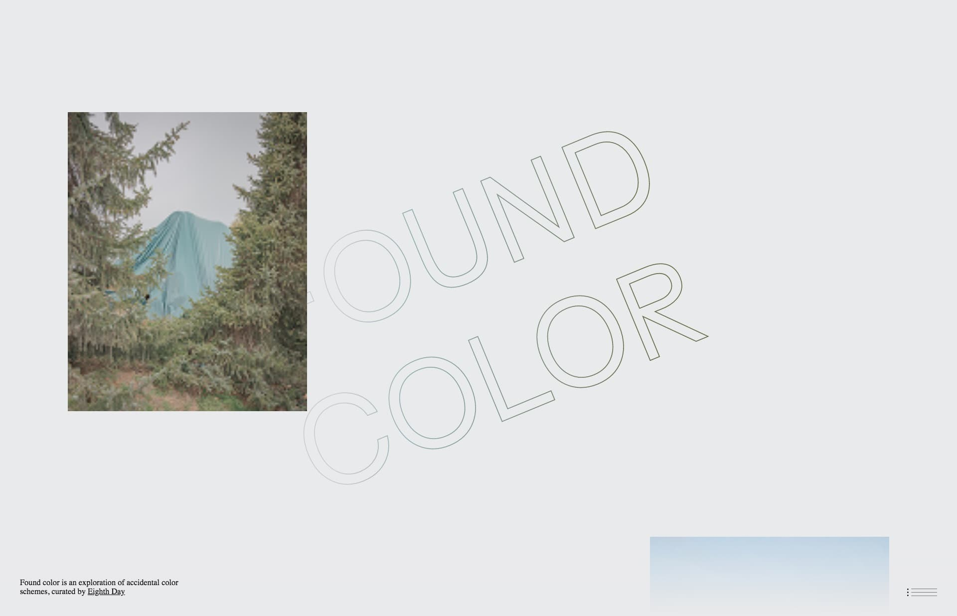 Screenshot of the website FOUND COLOR, featured on The Gallery, a curated collection of minimal websites