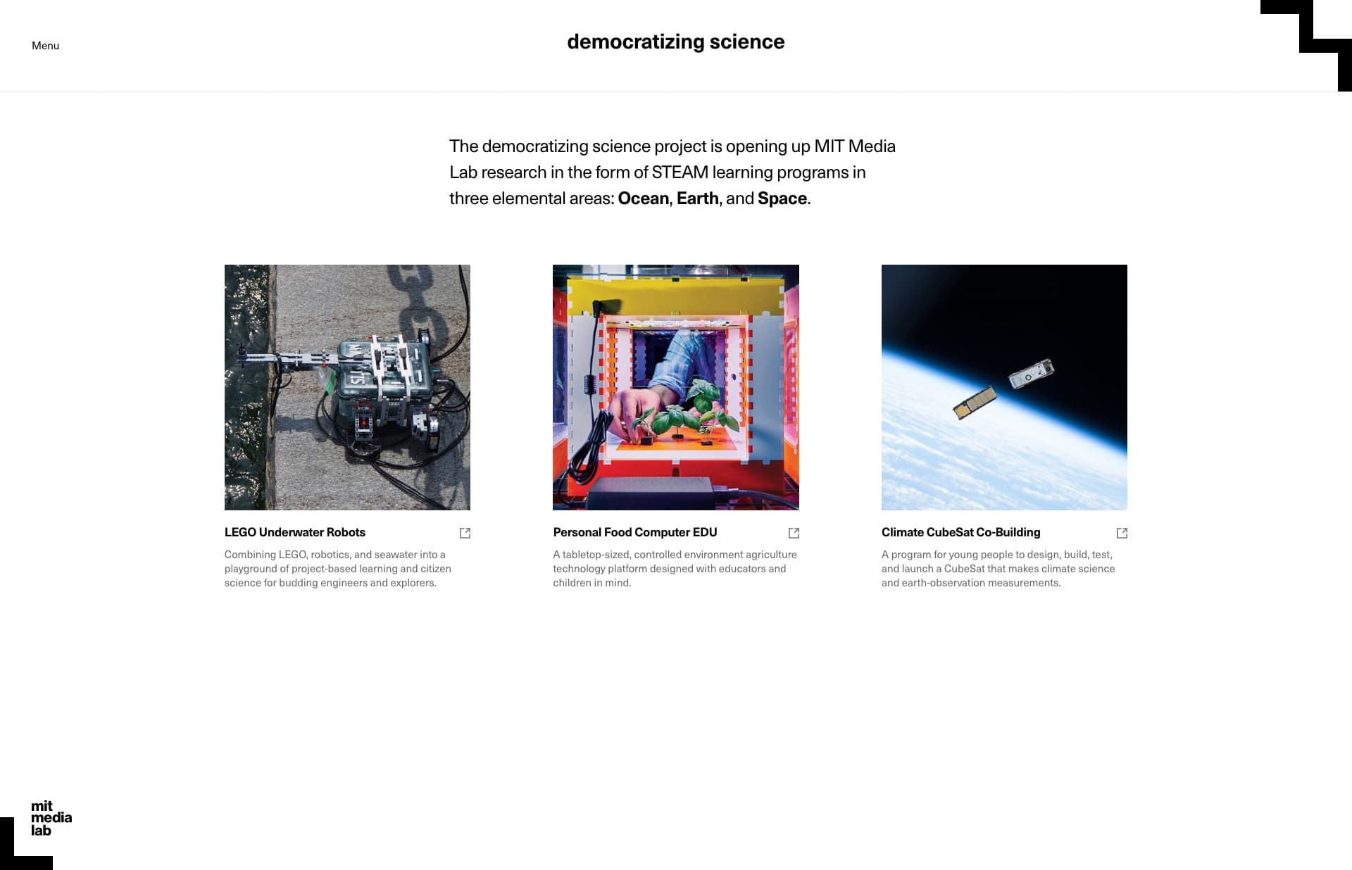 Screenshot of the website democratizing science, featured on The Gallery, a curated collection of minimal websites