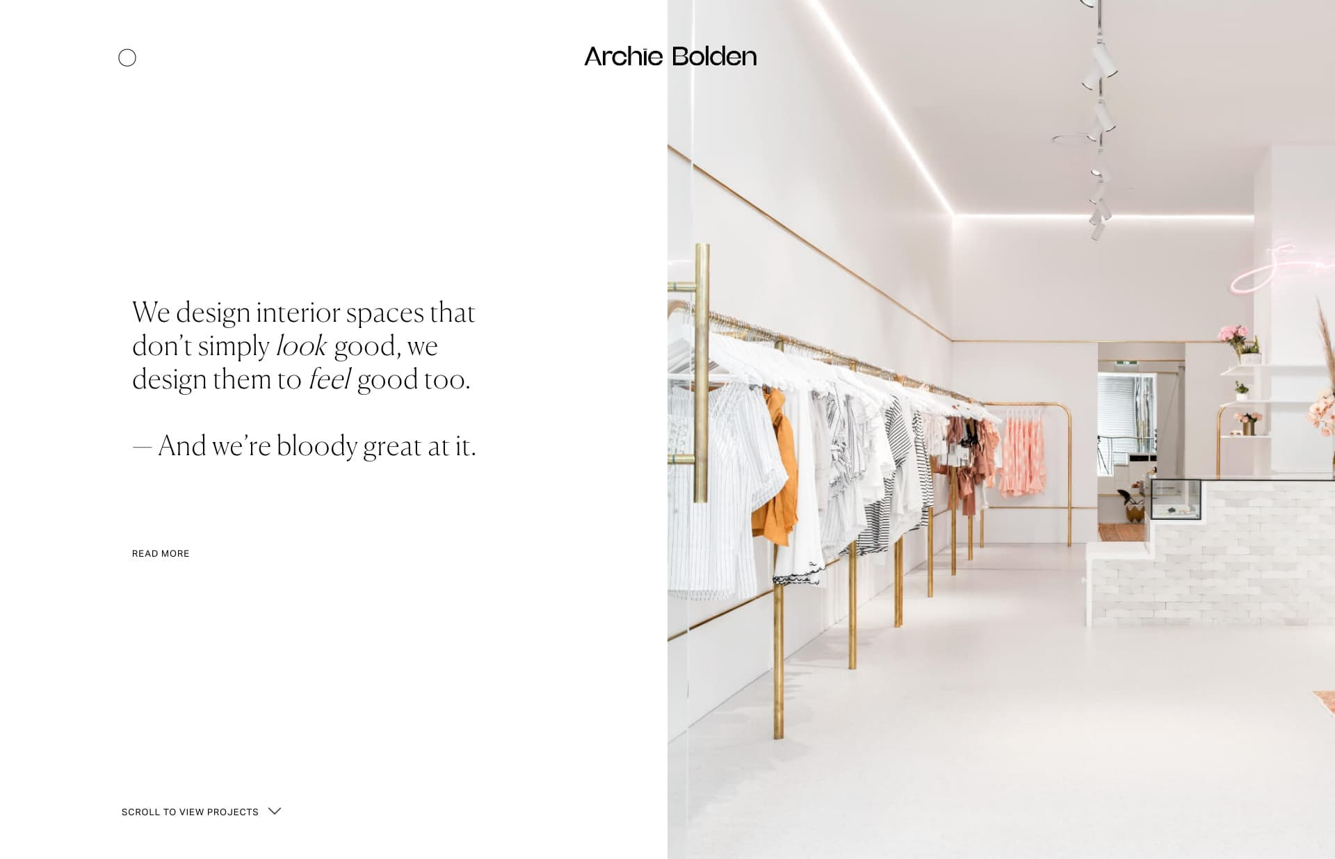 Screenshot of the website Archie Bolden, featured on The Gallery, a curated collection of minimal websites