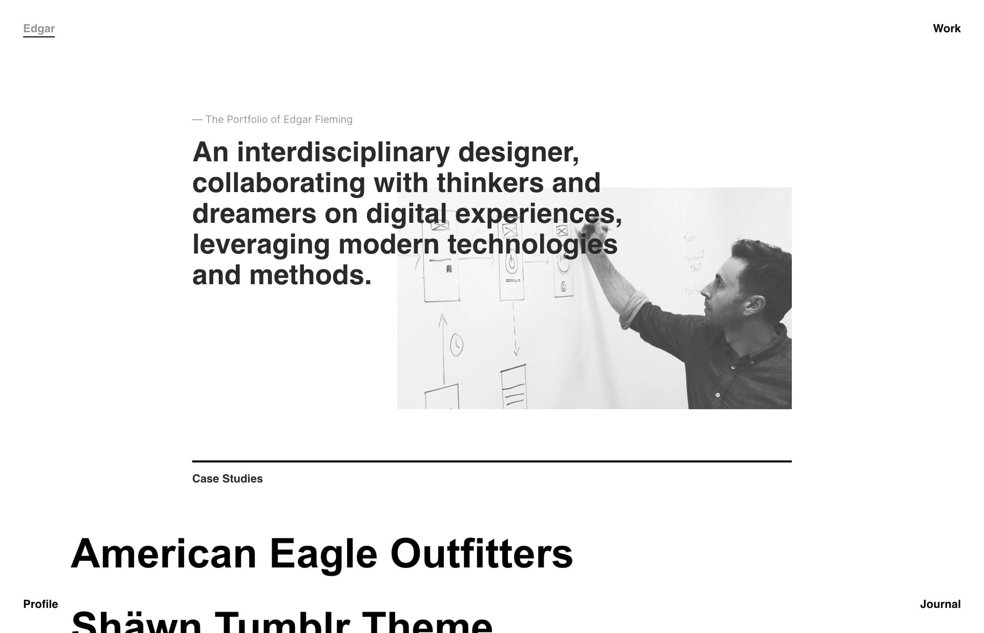 Screenshot of the website Edgar Fleming, featured on The Gallery, a curated collection of minimal websites