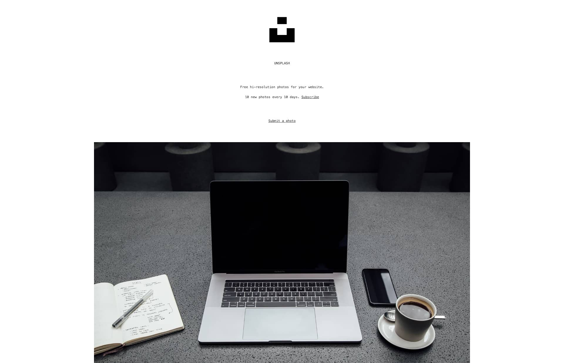 Screenshot of the website Unsplash, featured on The Gallery, a curated collection of minimal websites