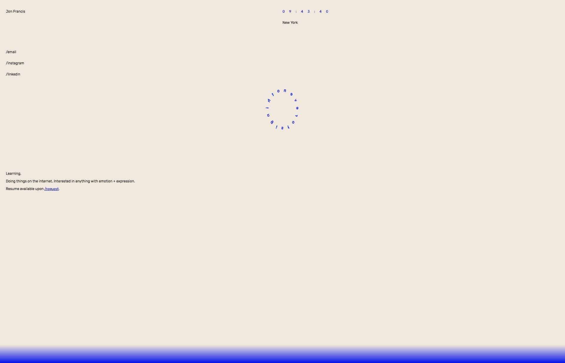 Screenshot of the website Jon Francis, featured on The Gallery, a curated collection of minimal websites