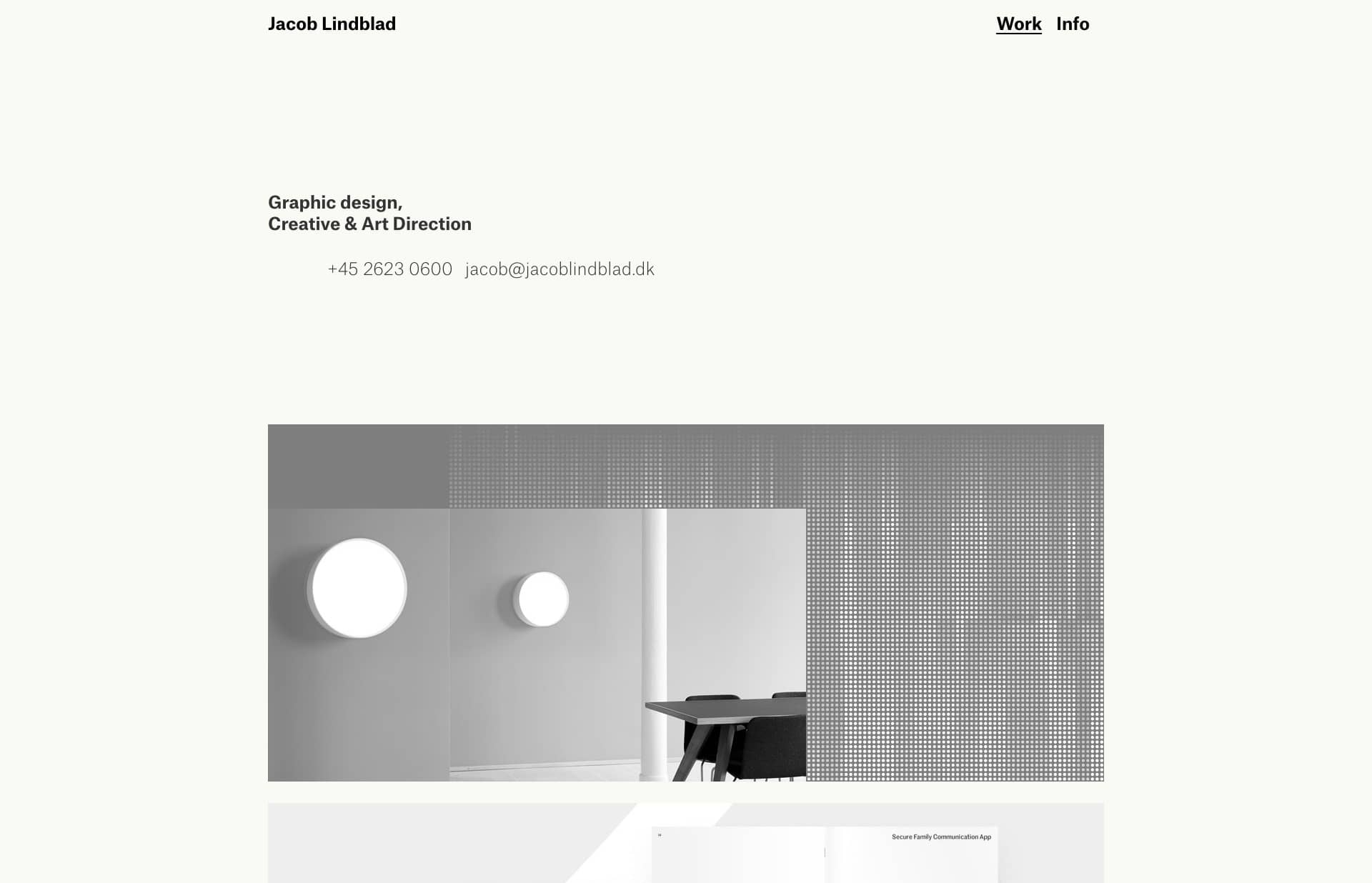 Screenshot of the website Jacob Lindblad, featured on The Gallery, a curated collection of minimal websites