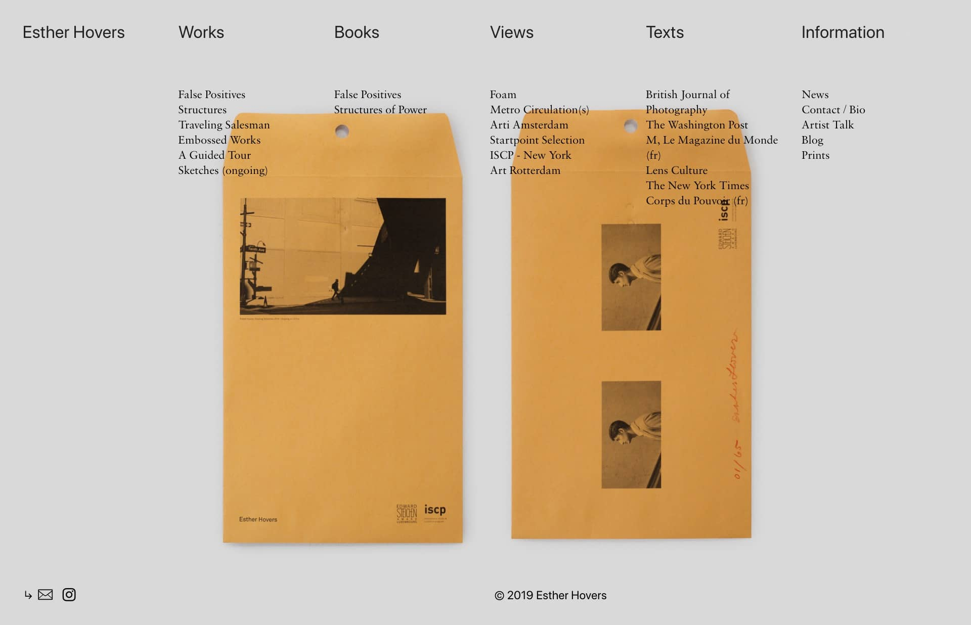 Screenshot of the website Esther Hovers, featured on The Gallery, a curated collection of minimal websites