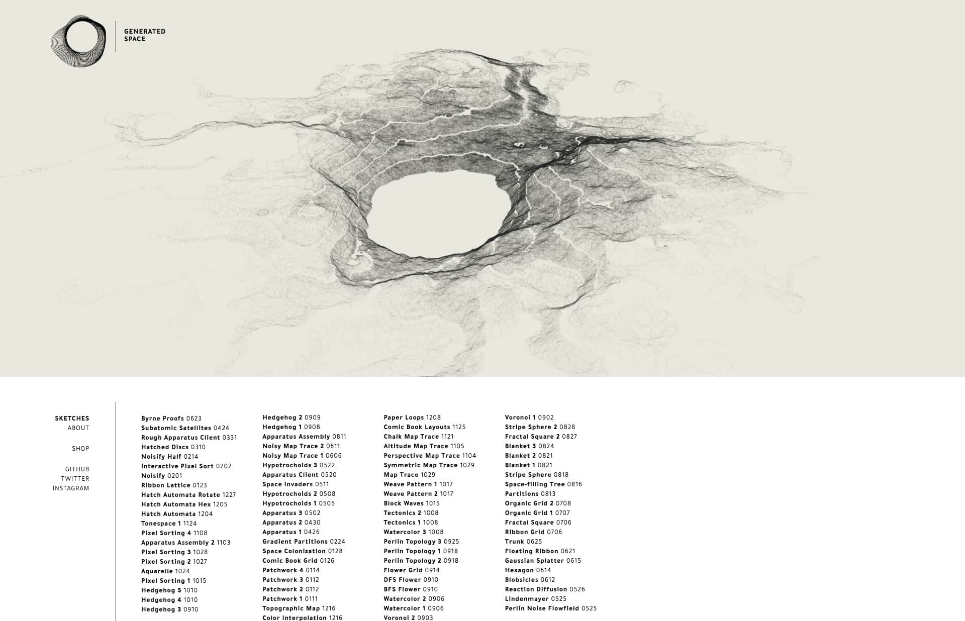 Screenshot of the website Generated Space, featured on The Gallery, a curated collection of minimal websites