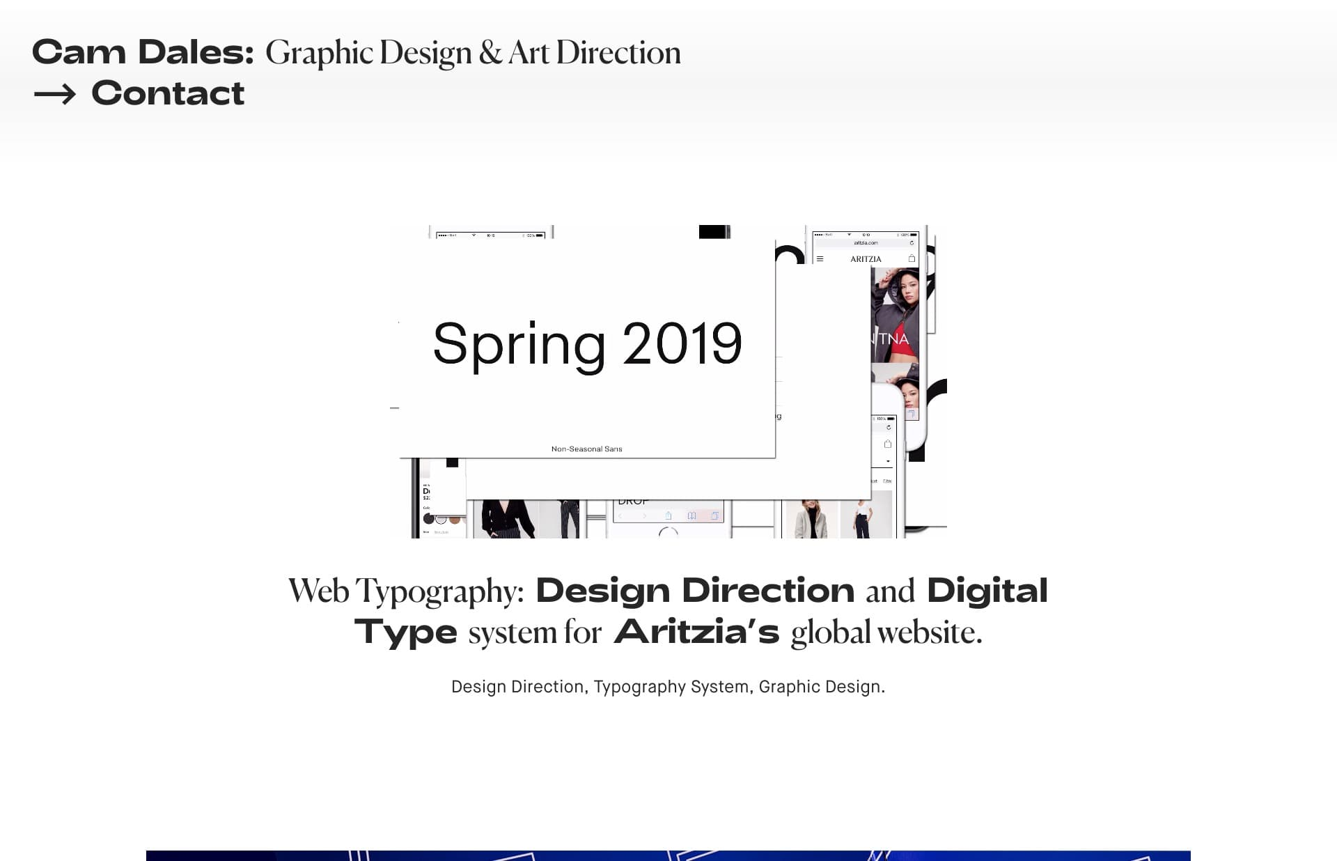 Screenshot of the website Cam Dales, featured on The Gallery, a curated collection of minimal websites