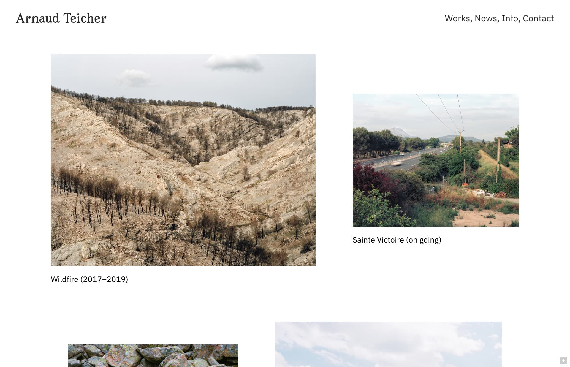 Screenshot of the website Arnaud Teicher, featured on The Gallery, a curated collection of minimal websites