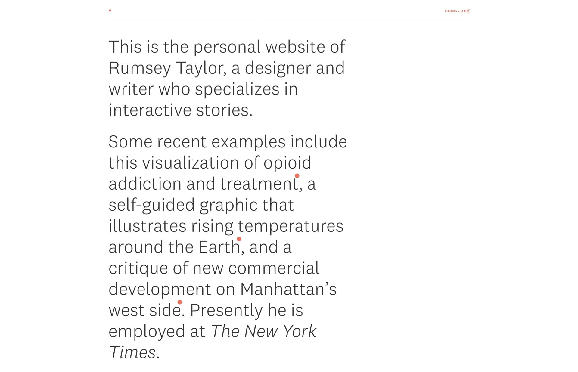 Screenshot of the website Rumz, featured on The Gallery, a curated collection of minimal websites