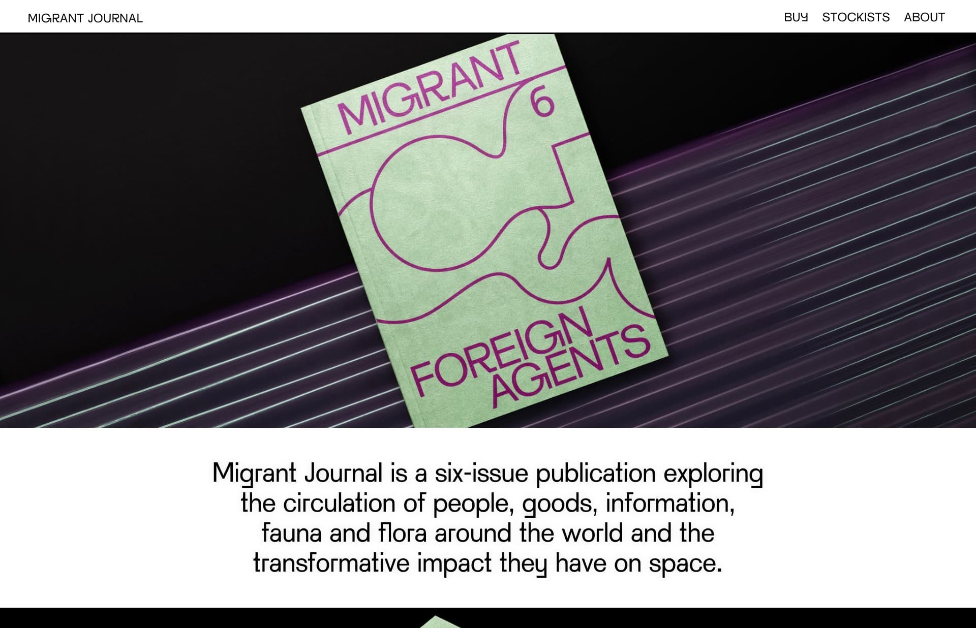 Screenshot of the website Migrant Journal, featured on The Gallery, a curated collection of minimal websites