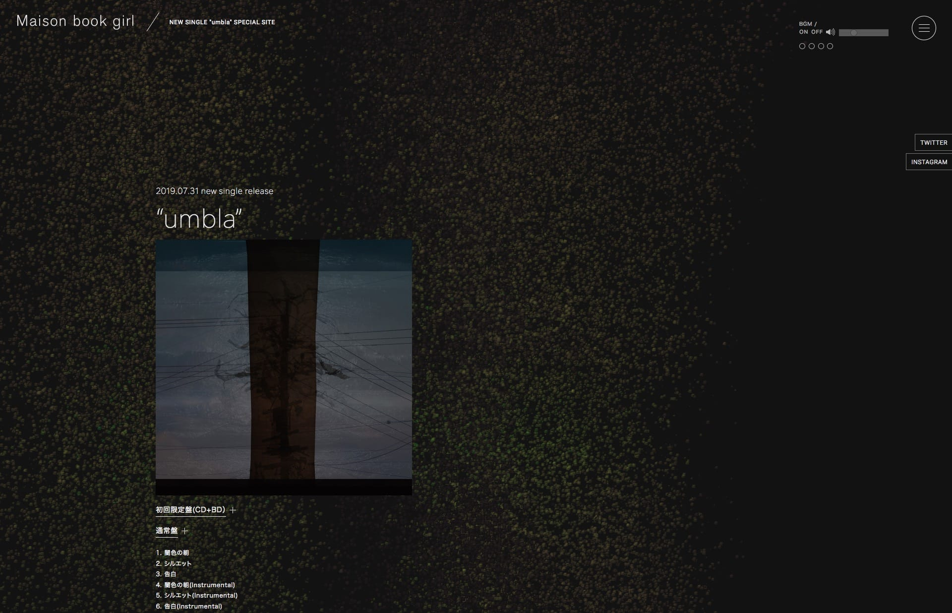 Screenshot of the website Umbla, featured on The Gallery, a curated collection of minimal websites