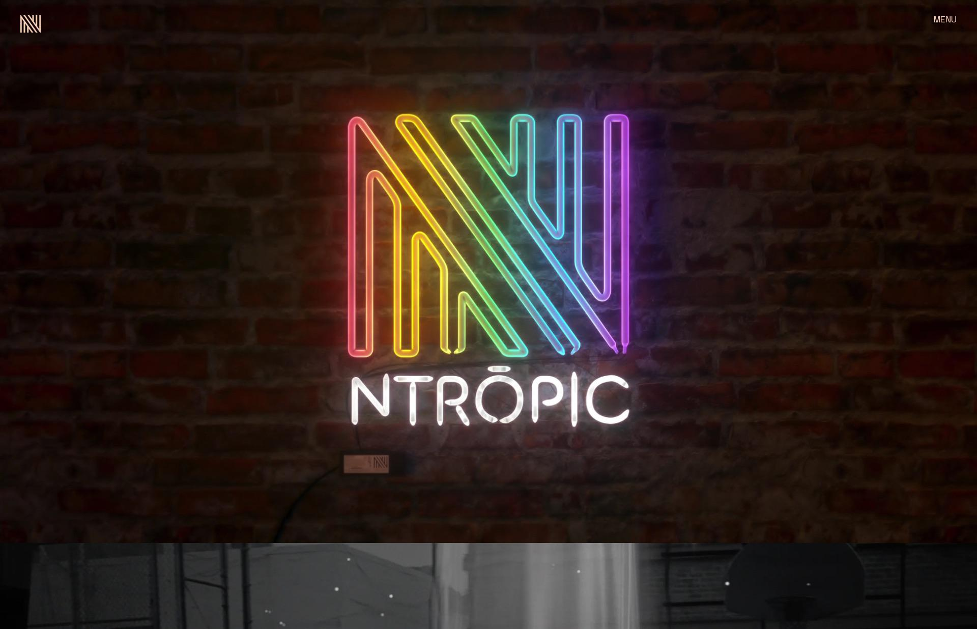 Screenshot of the website Ntropic, featured on The Gallery, a curated collection of minimal websites