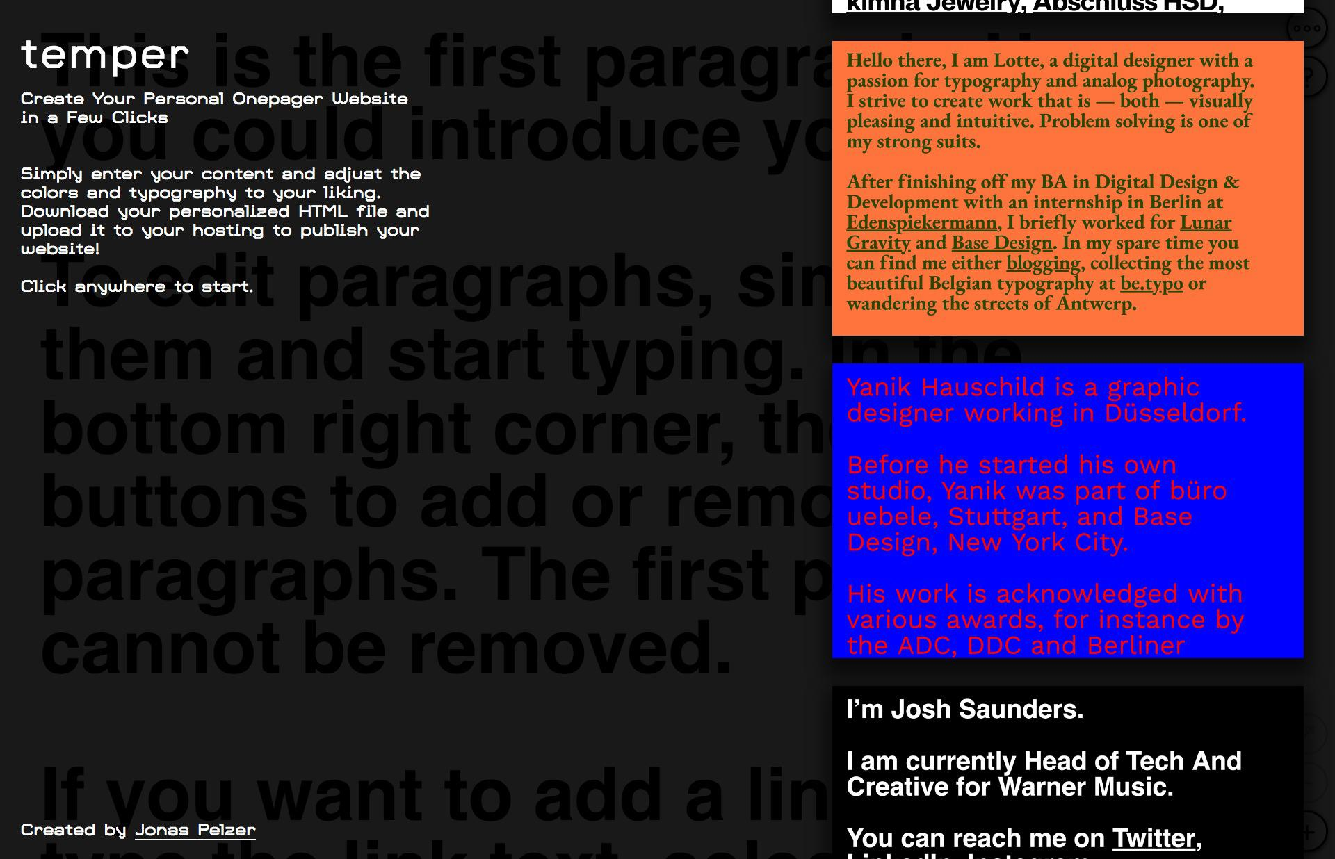 Screenshot of the website Temper, featured on The Gallery, a curated collection of minimal websites