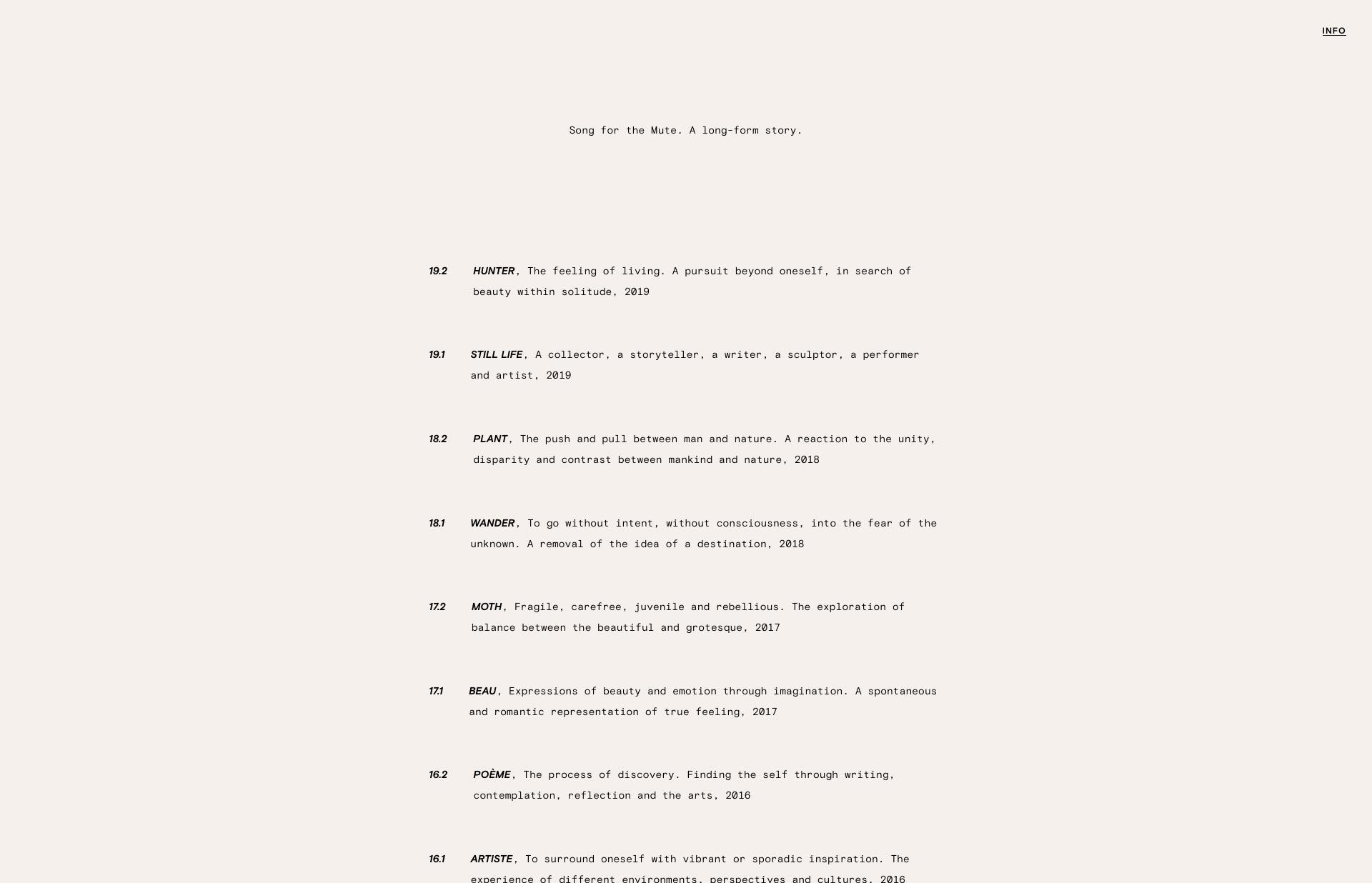 Screenshot of the website Song for the Mute, featured on The Gallery, a curated collection of minimal websites