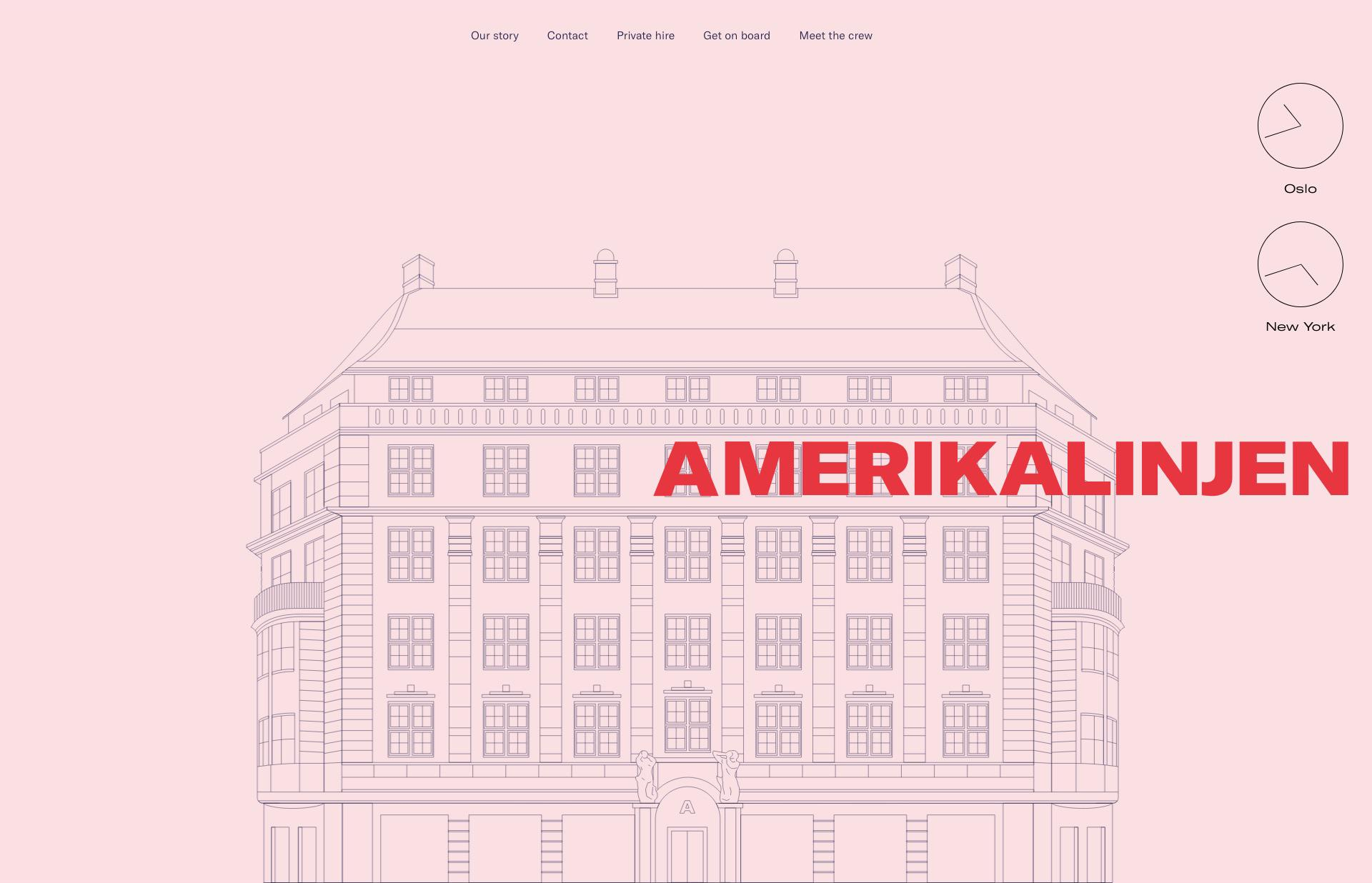 Screenshot of the website Amerikalinjen, featured on The Gallery, a curated collection of minimal websites