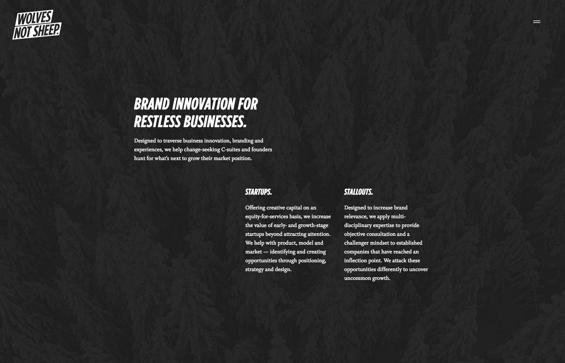 Screenshot of the website Wolves, Not Sheep., featured on The Gallery, a curated collection of minimal websites