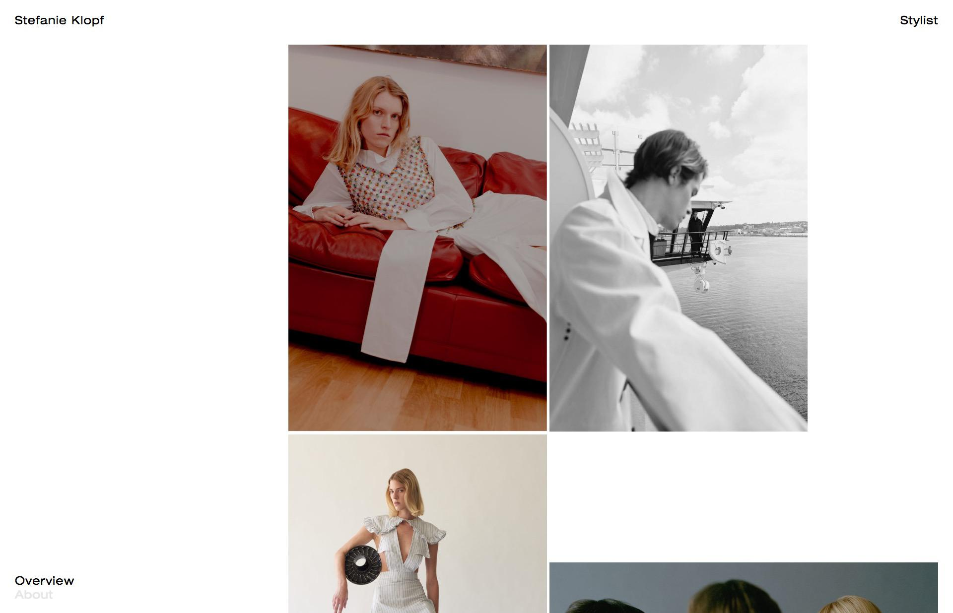 Screenshot of the website Stefanie Klopf, featured on The Gallery, a curated collection of minimal websites