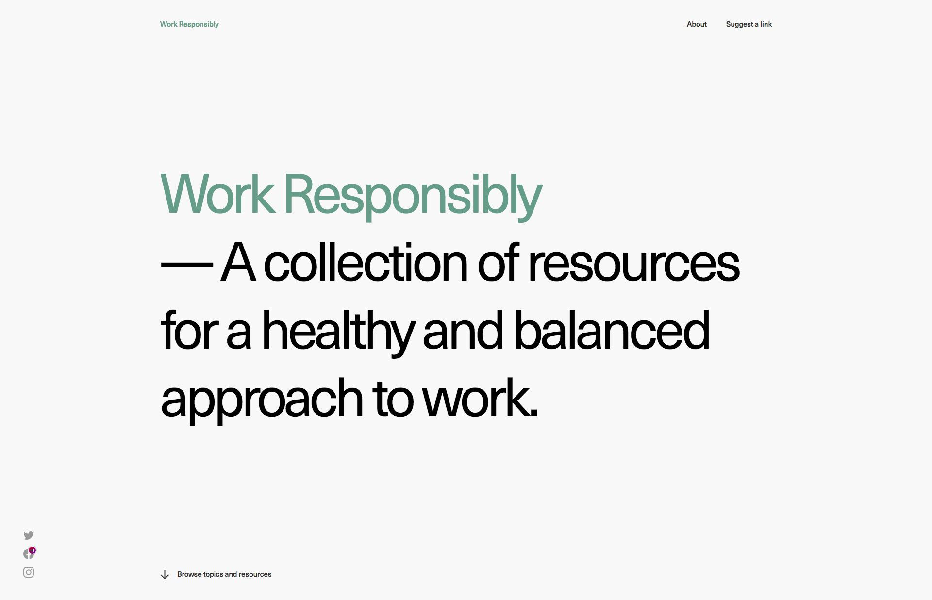 Screenshot of the website Work Responsibly, featured on The Gallery, a curated collection of minimal websites