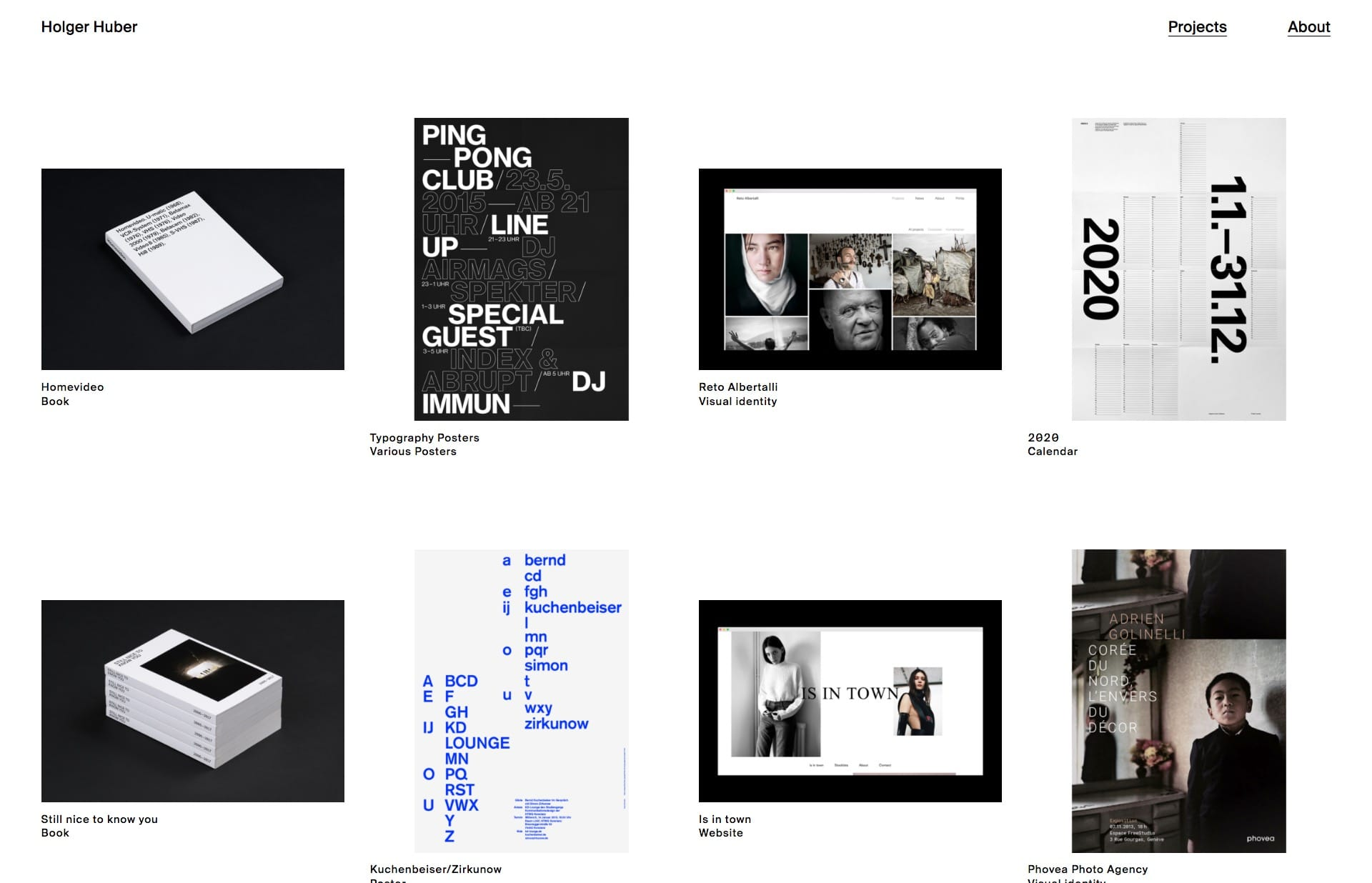 Screenshot of the website Holger Huber, featured on The Gallery, a curated collection of minimal websites