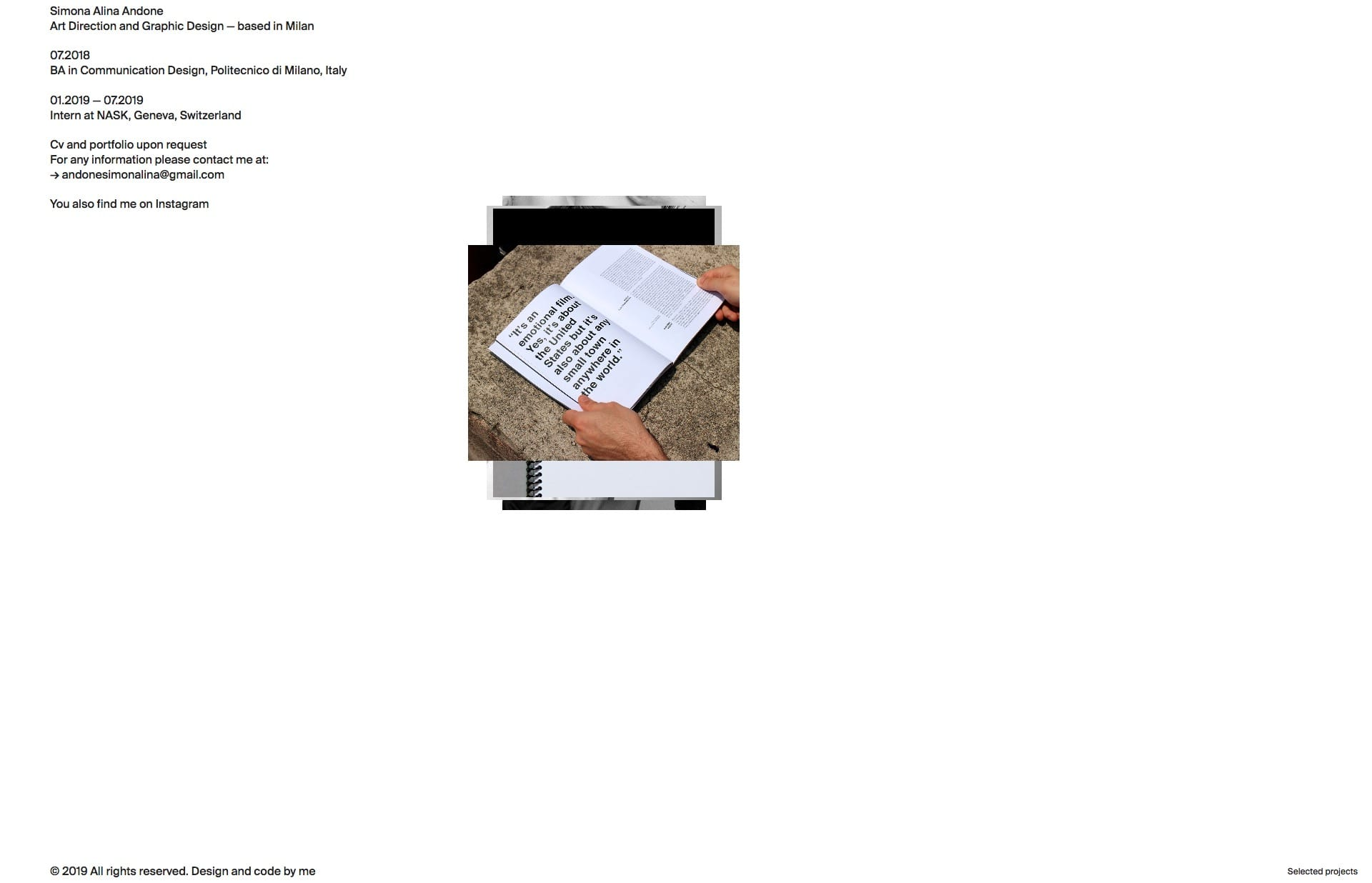 Screenshot of the website Simona Alina Andone, featured on The Gallery, a curated collection of minimal websites