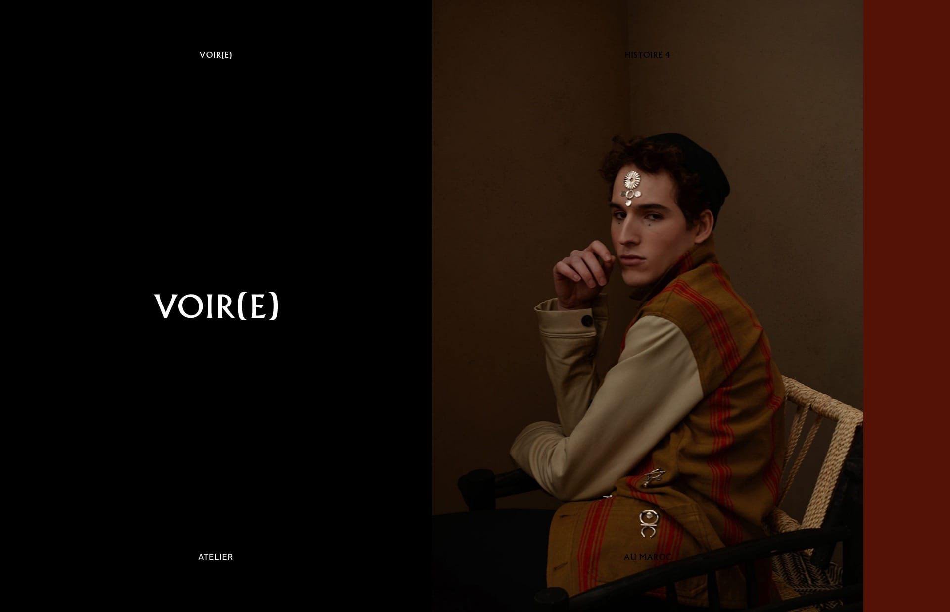 Screenshot of the website Voir(e), featured on The Gallery, a curated collection of minimal websites