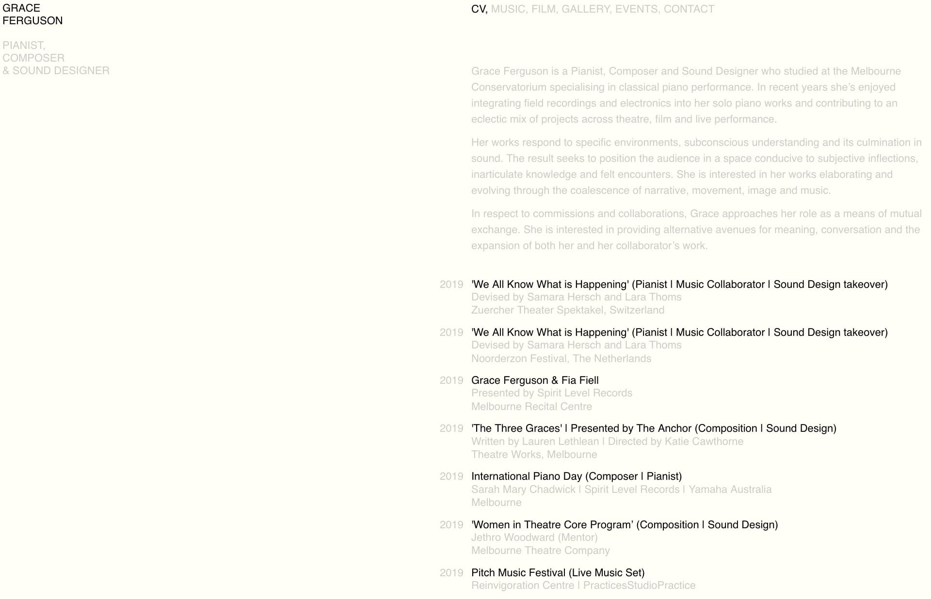 Screenshot of the website Grace Ferguson, featured on The Gallery, a curated collection of minimal websites