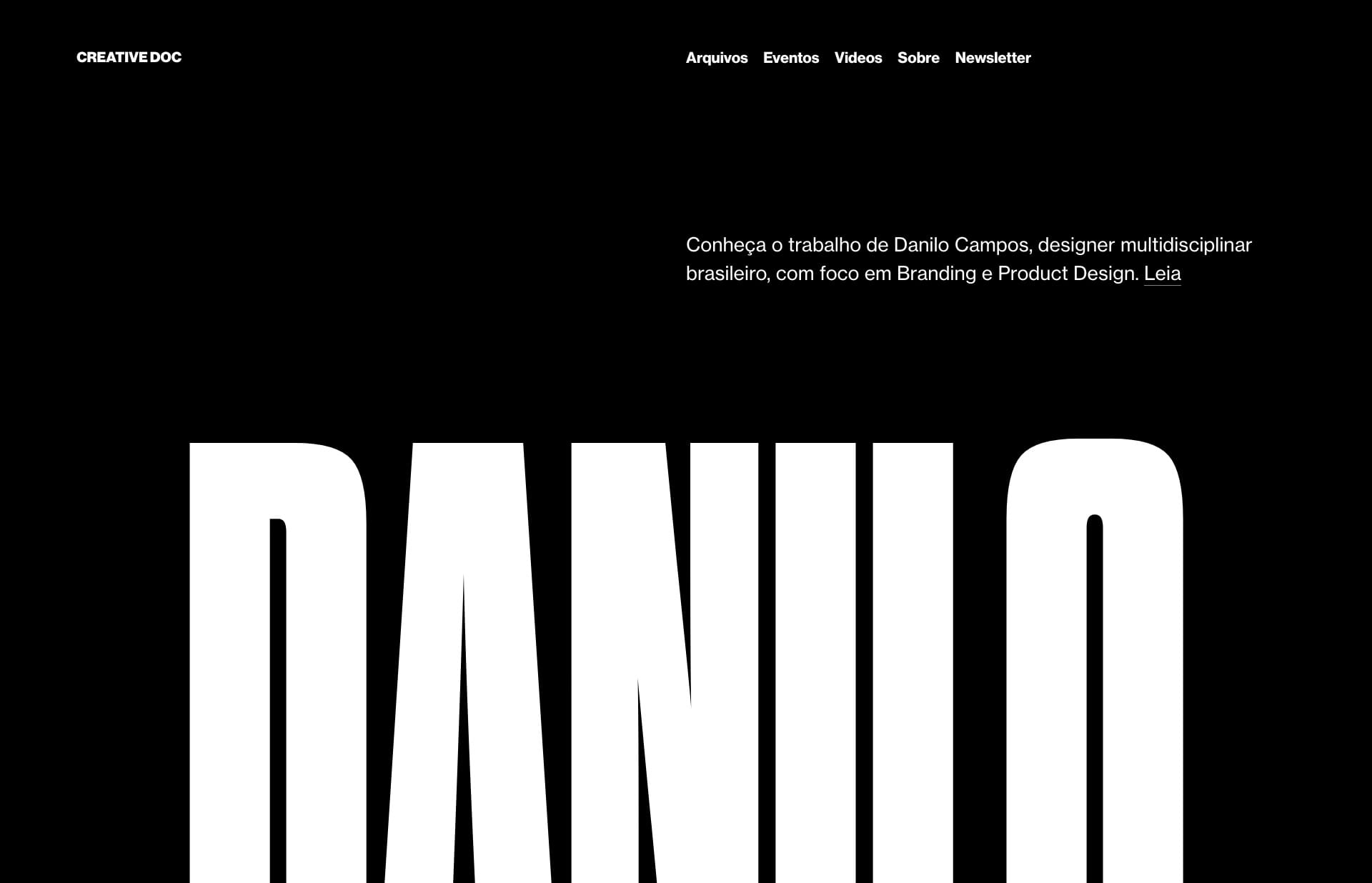 Screenshot of the website Creative Doc, featured on The Gallery, a curated collection of minimal websites