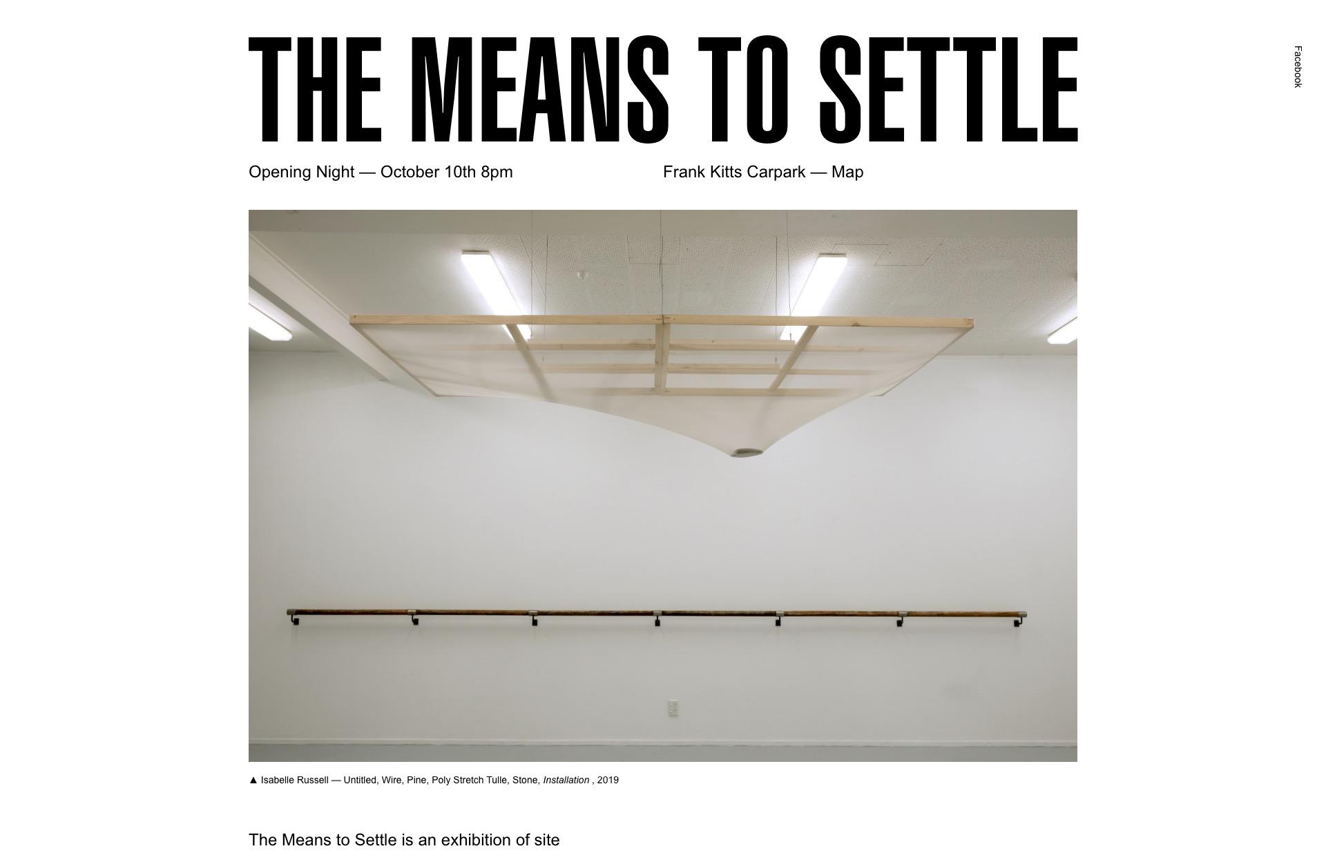 Screenshot of the website The Means To Settle, featured on The Gallery, a curated collection of minimal websites
