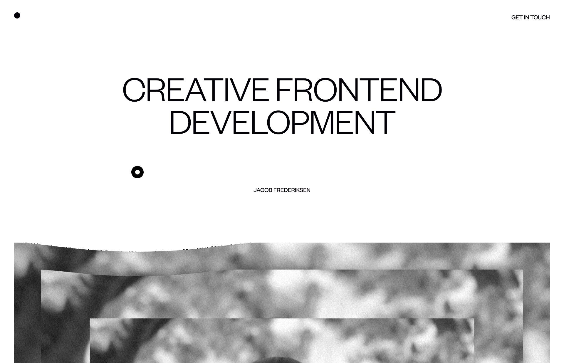 Screenshot of the website Jacob Frederiksen, featured on The Gallery, a curated collection of minimal websites