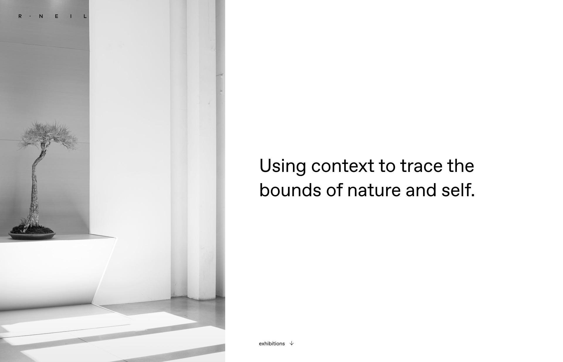 Screenshot of the website R Neil, featured on The Gallery, a curated collection of minimal websites