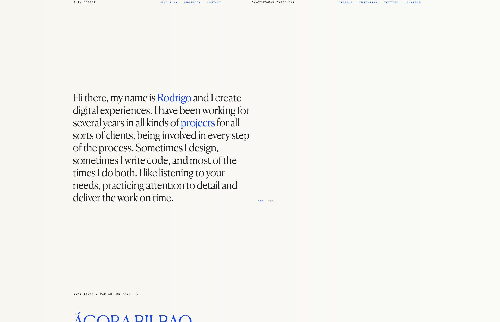 Screenshot of the website i am rodrek, featured on The Gallery, a curated collection of minimal websites