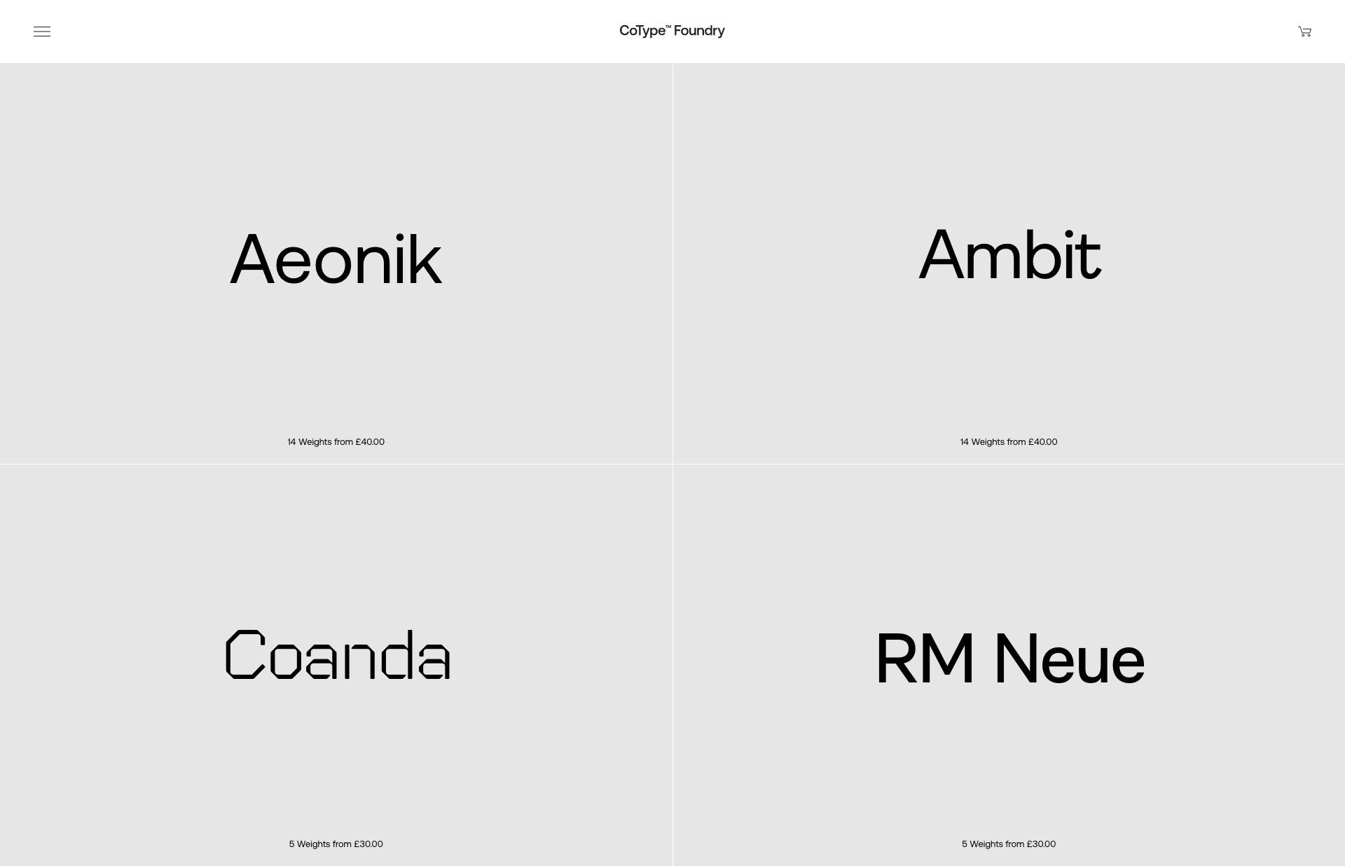 Screenshot of the website CoType Foundry, featured on The Gallery, a curated collection of minimal websites