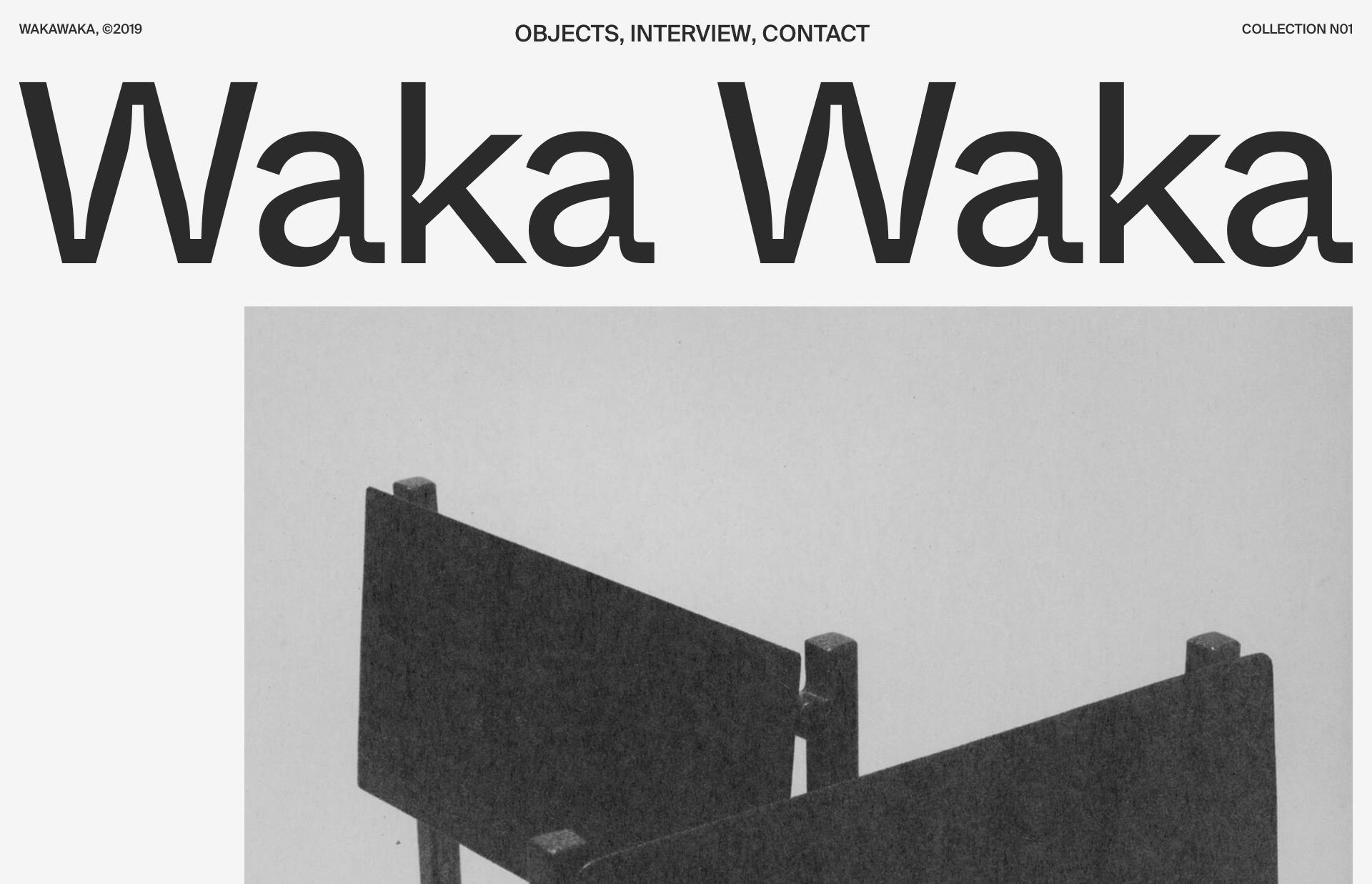 Screenshot of the website Waka Waka, featured on The Gallery, a curated collection of minimal websites