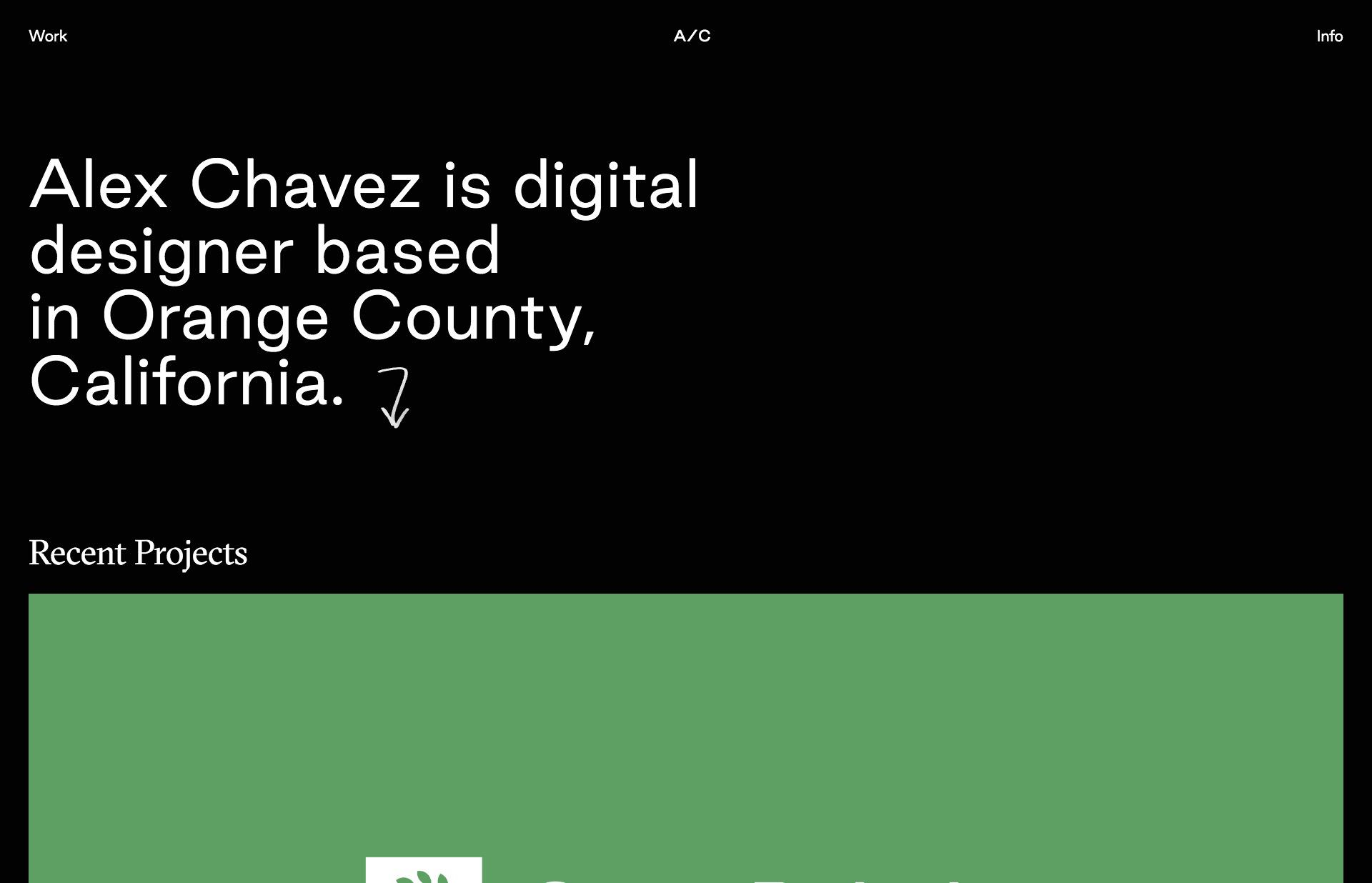 Screenshot of the website Alex Chavez, featured on The Gallery, a curated collection of minimal websites