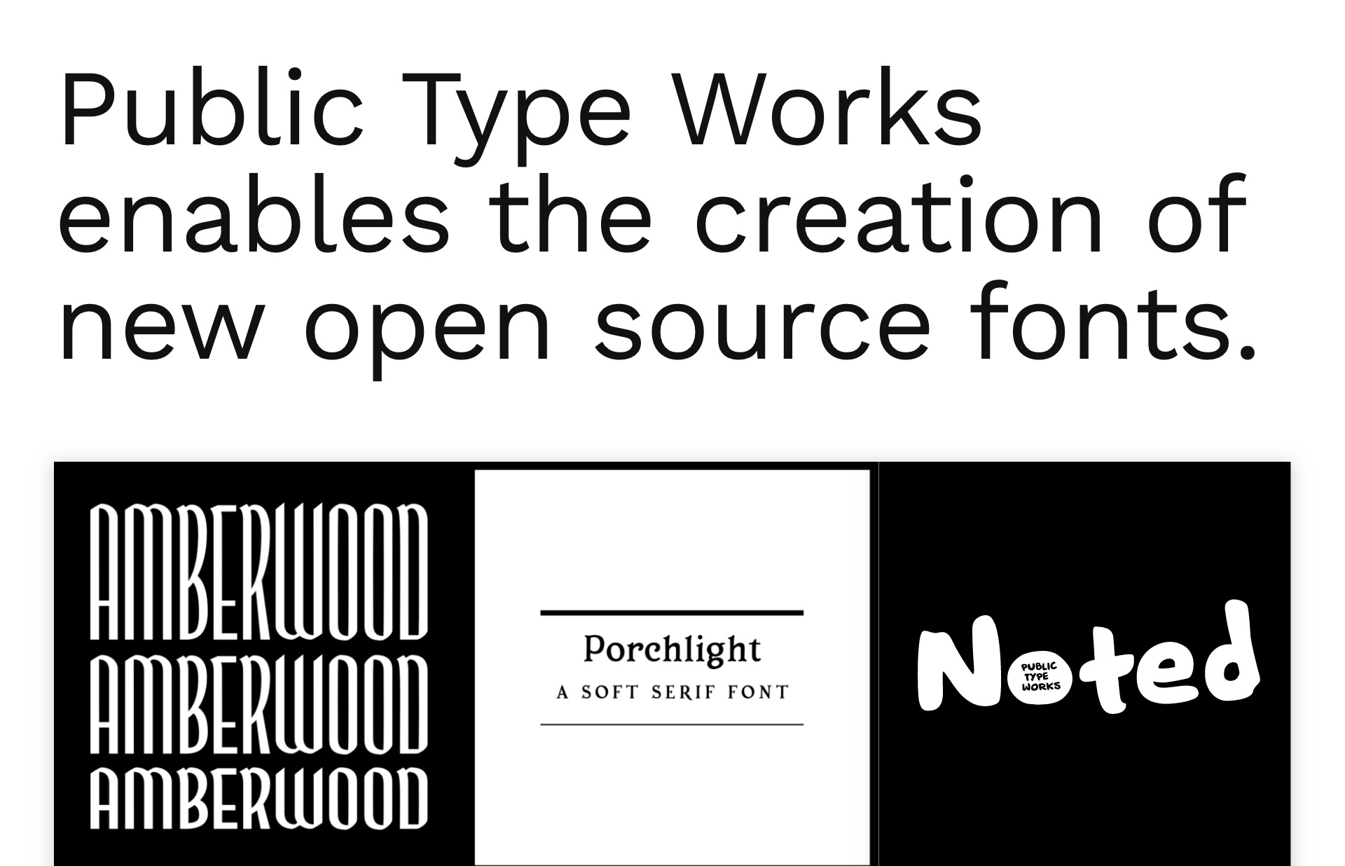 Screenshot of the website Public Type Works, featured on The Gallery, a curated collection of minimal websites