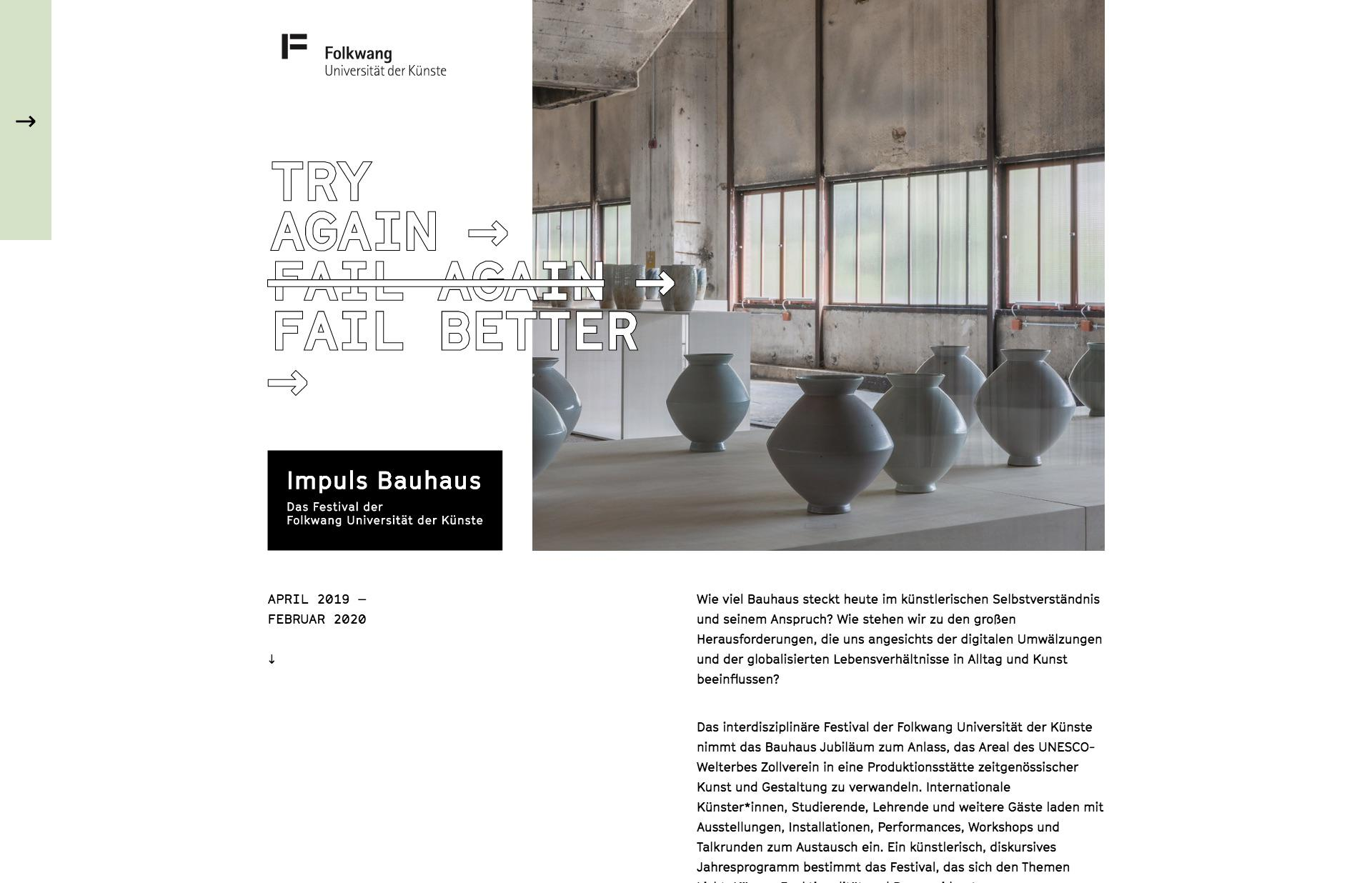 Screenshot of the website Impuls Bauhaus, featured on The Gallery, a curated collection of minimal websites