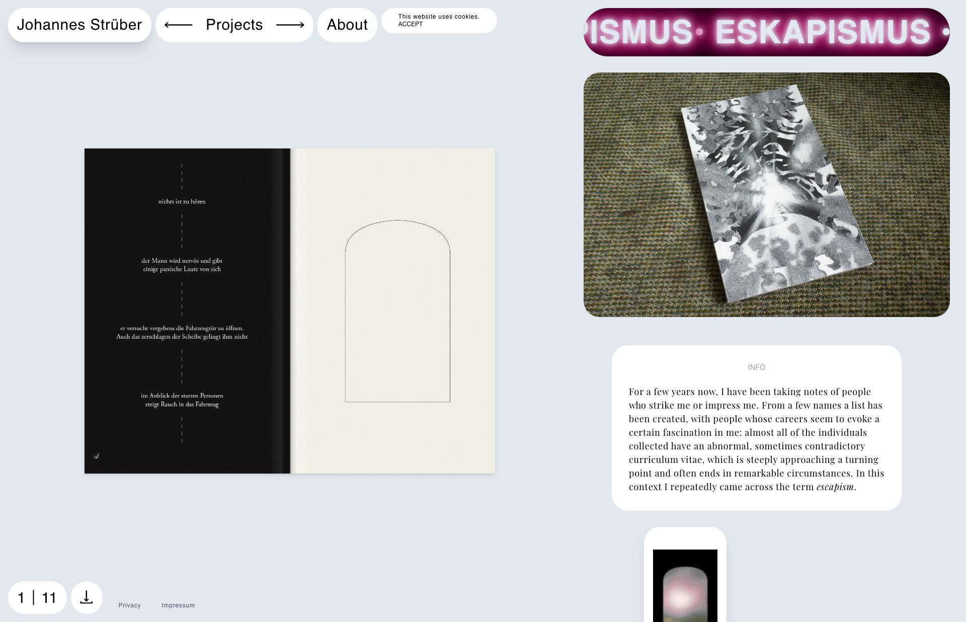Screenshot of the website Johannes Strüber, featured on The Gallery, a curated collection of minimal websites