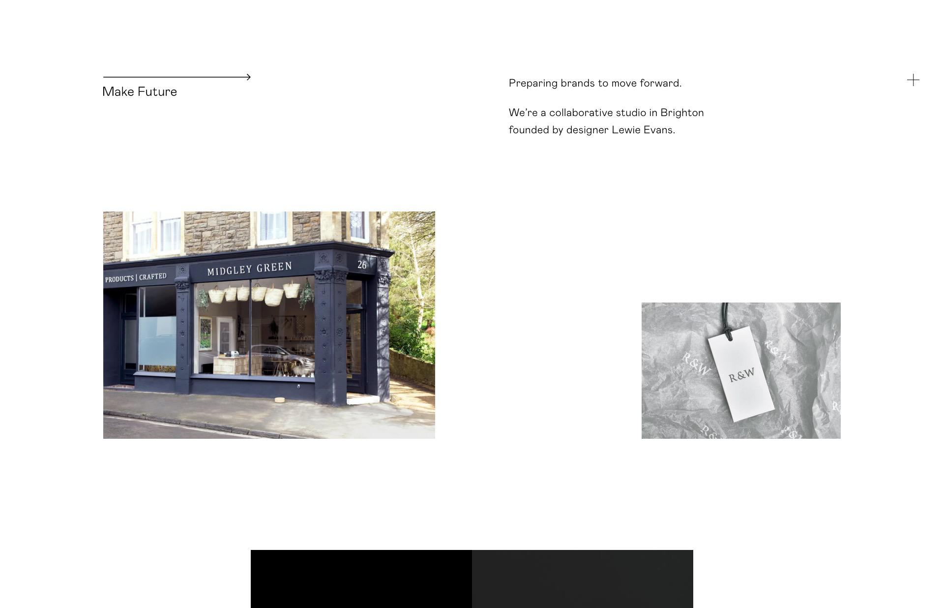 Screenshot of the website Make Future, featured on The Gallery, a curated collection of minimal websites