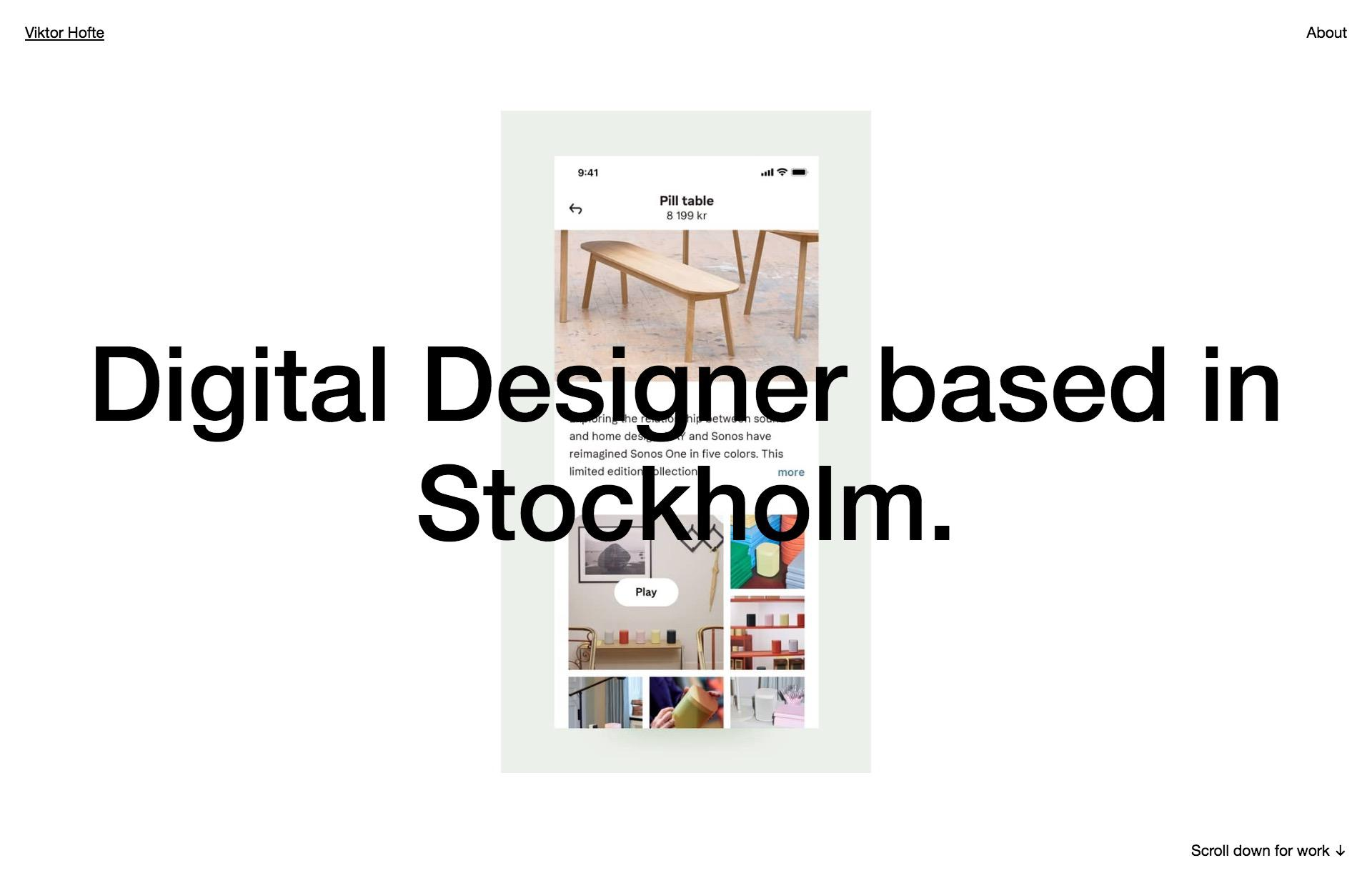 Screenshot of the website Viktor Hofte, featured on The Gallery, a curated collection of minimal websites
