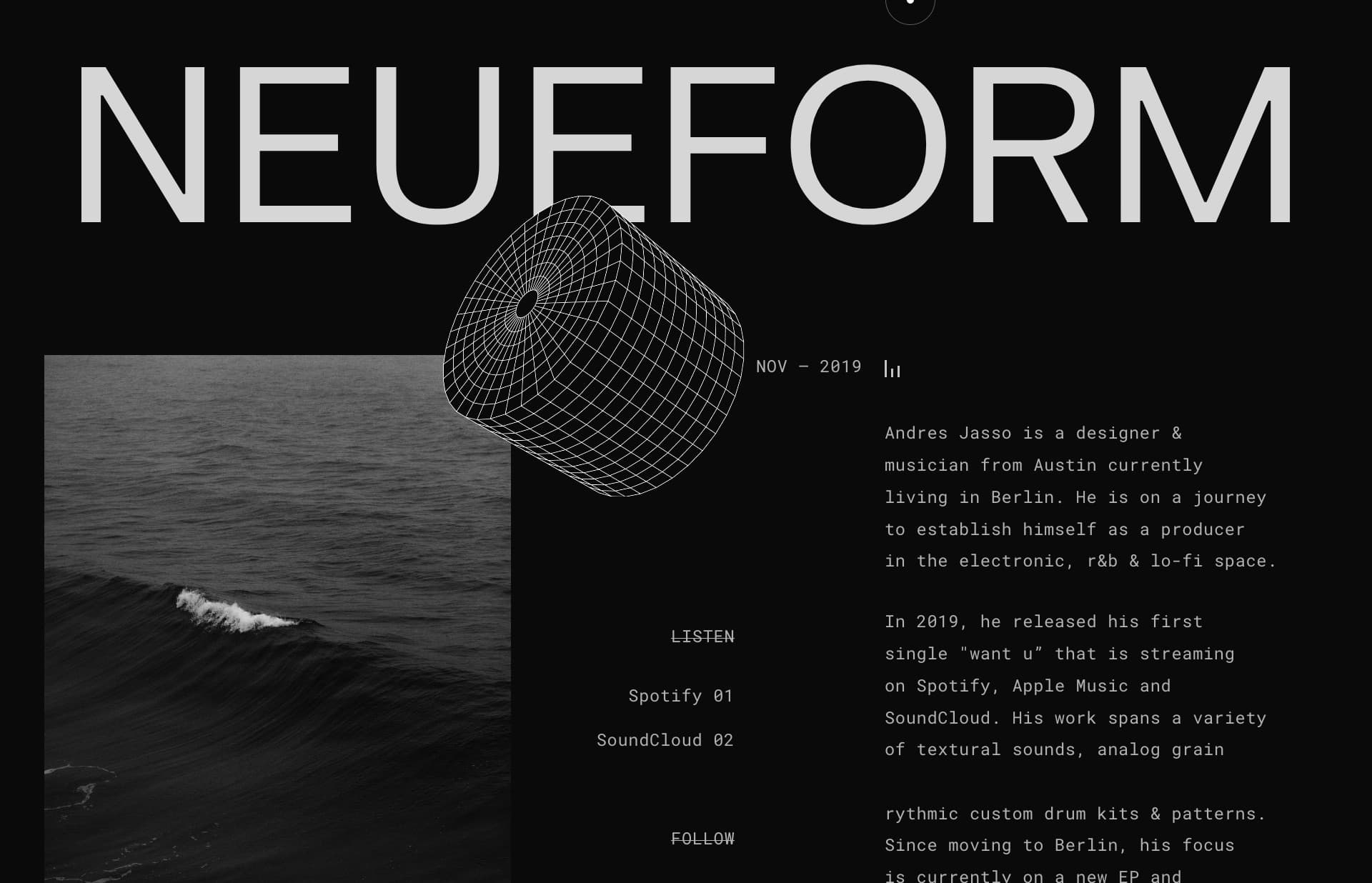 Screenshot of the website Neueform, featured on The Gallery, a curated collection of minimal websites
